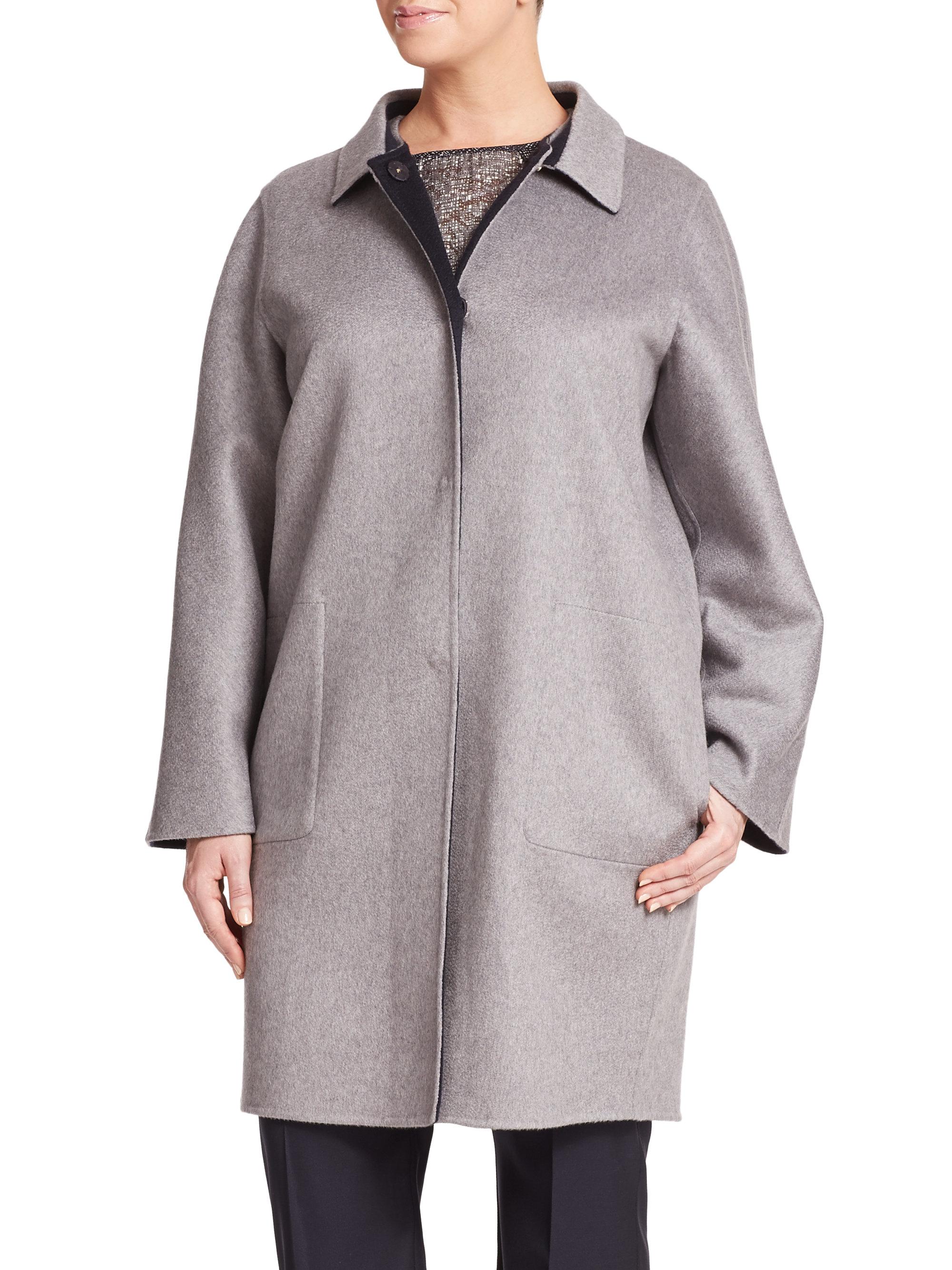 Lyst Marina Rinaldi Cashmere Reversible Coat In Gray