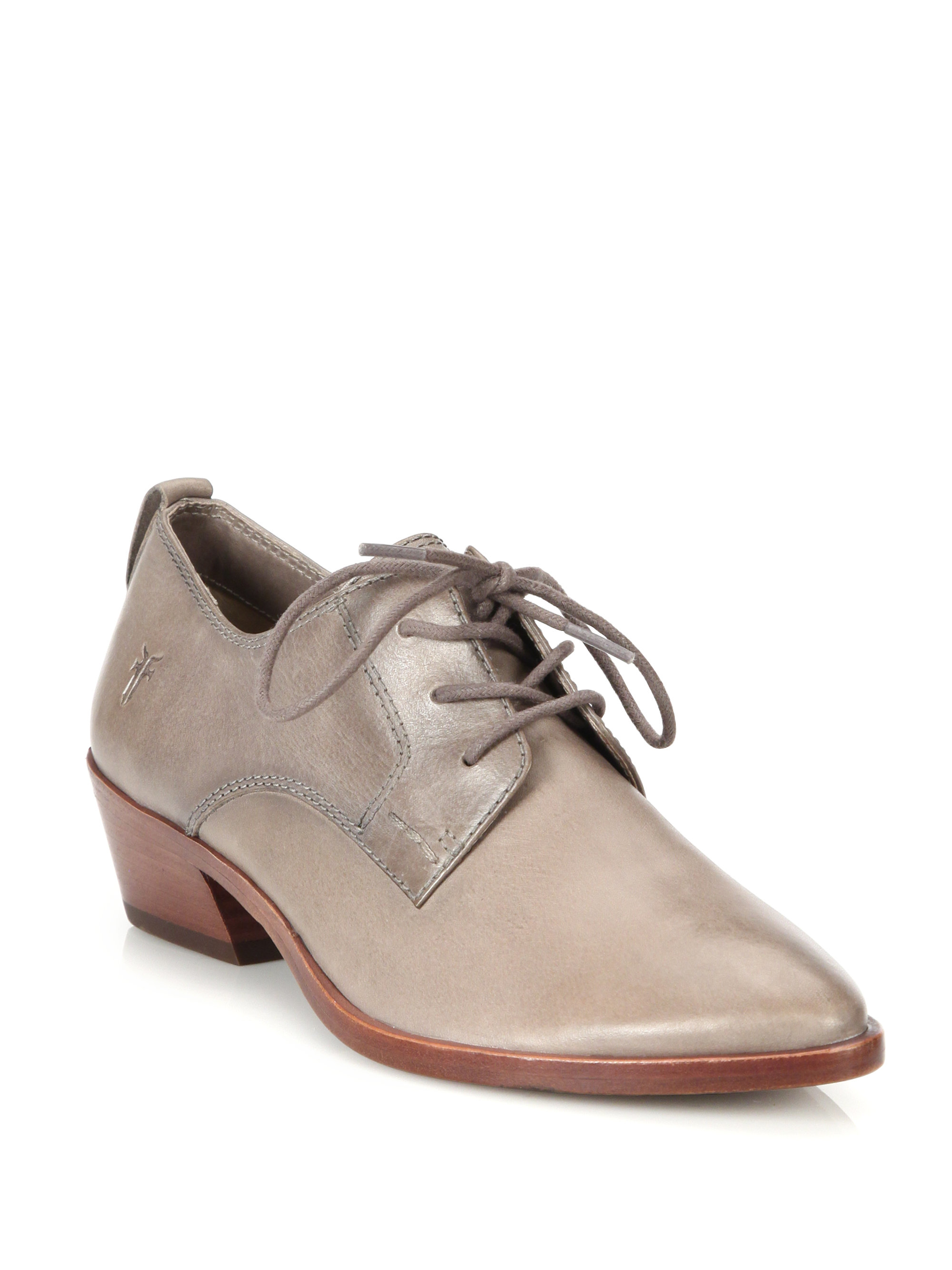 frye reese leather oxford shoes in gray lyst