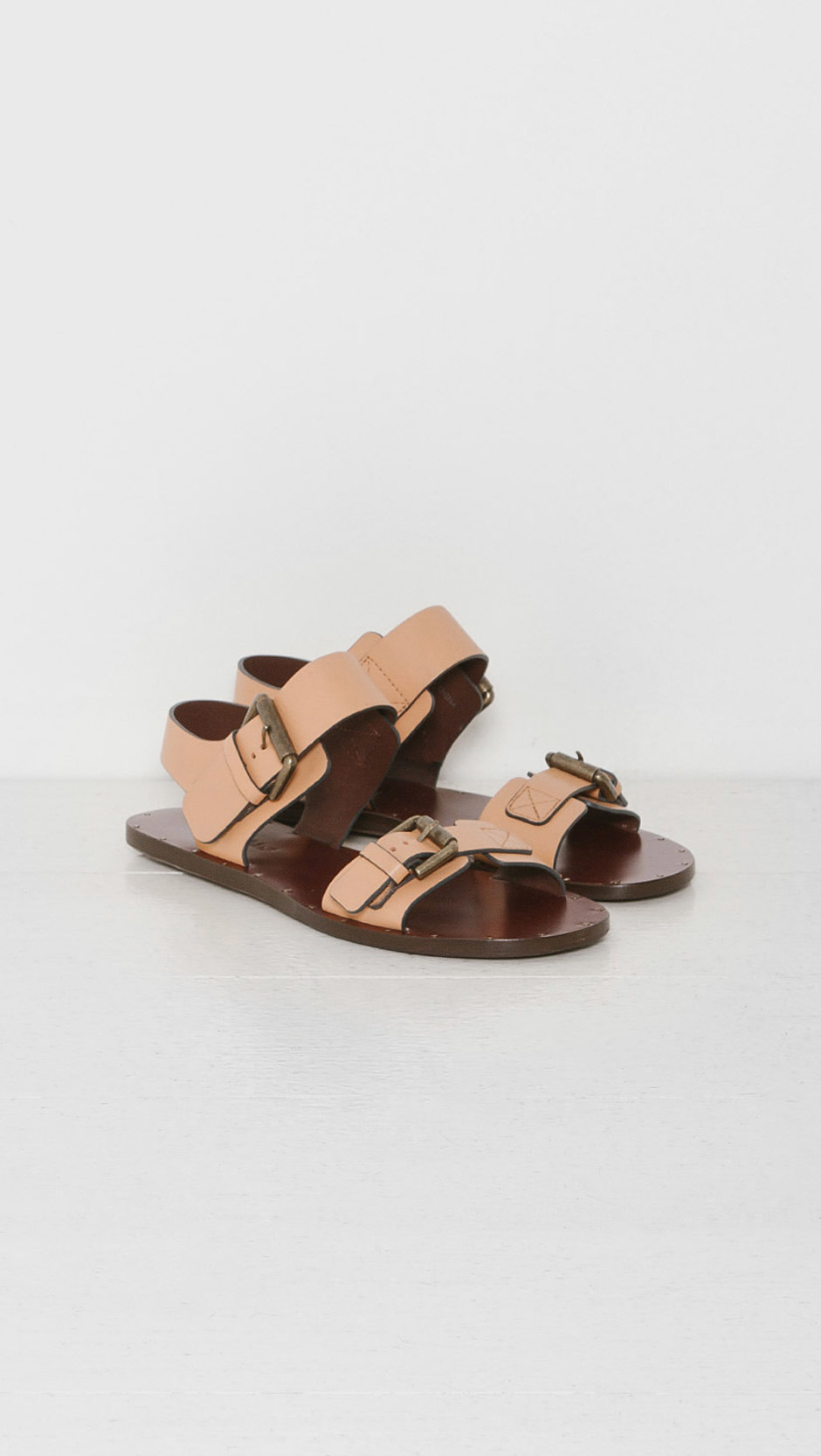 23f520dfe43 Lyst - See By Chloé Double Buckle Flat Sandal in Natural