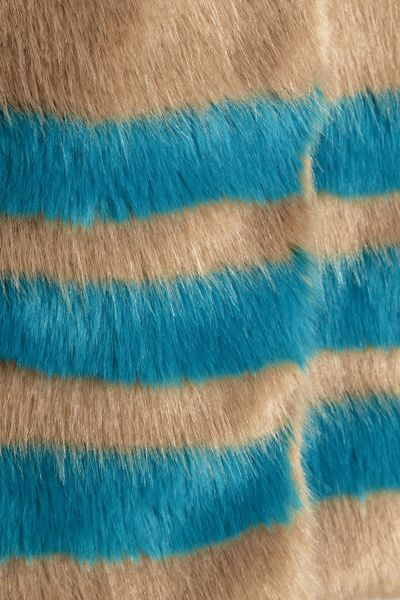 Shrimps Wilma Striped Faux Fur Coat In Blue Brown Lyst