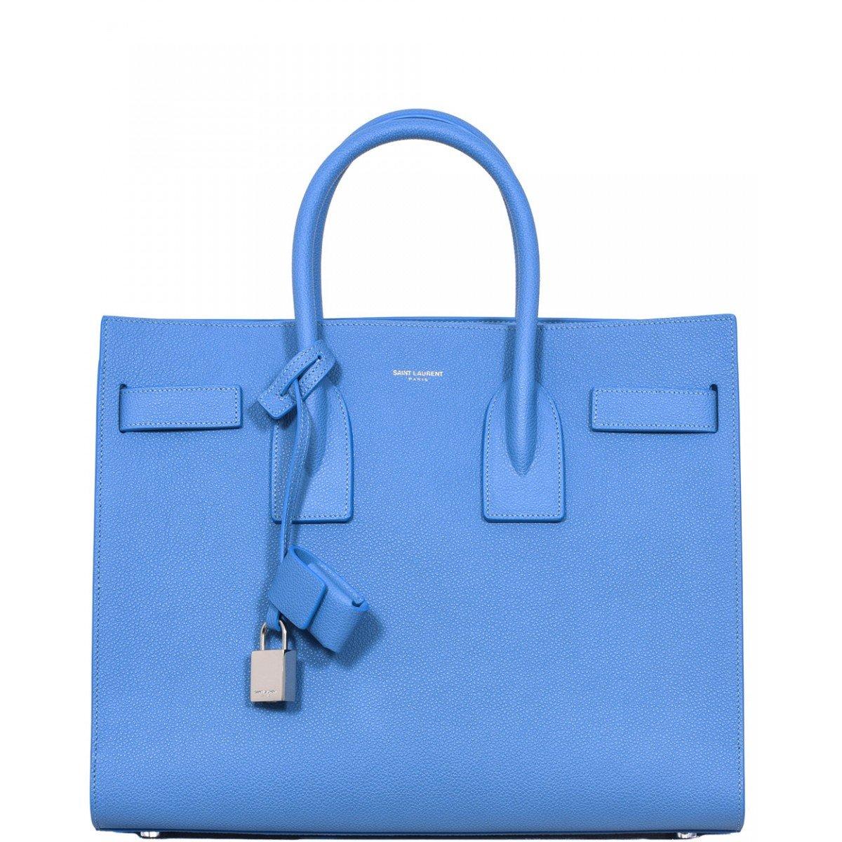 yves saint laurent satchel - classic nano sac de jour bag in royal blue leather