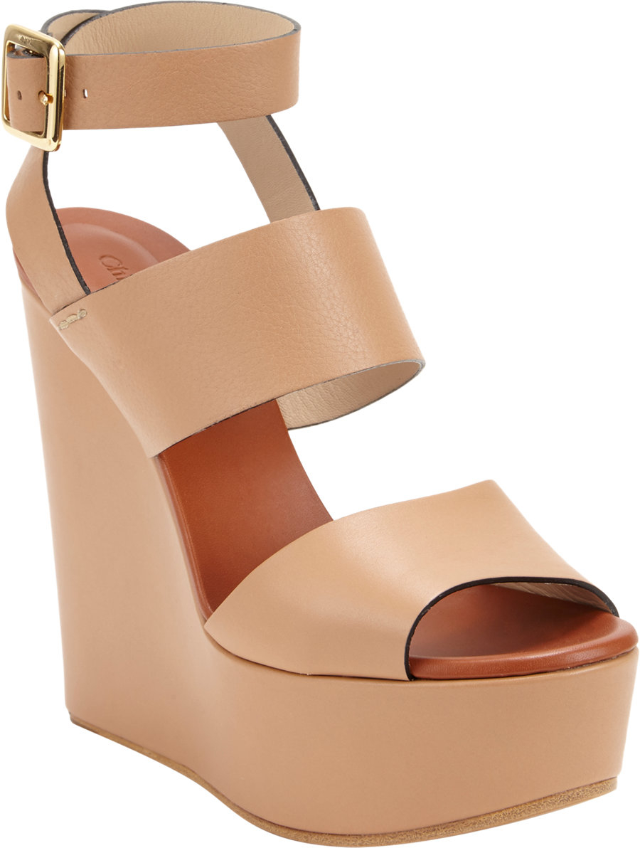 cc99713162115 Chloé Doublestrap Wedge Platform Sandal in Natural - Lyst