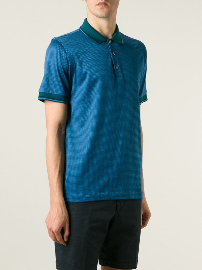 92071fa79 Brioni Printed Polo Shirt in Blue for Men - Lyst