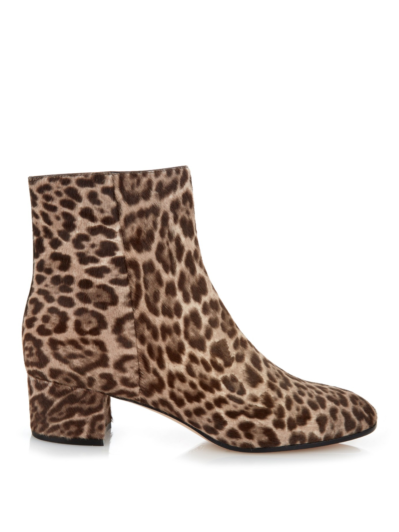 gianvito brown leopard print calf hair ankle boots