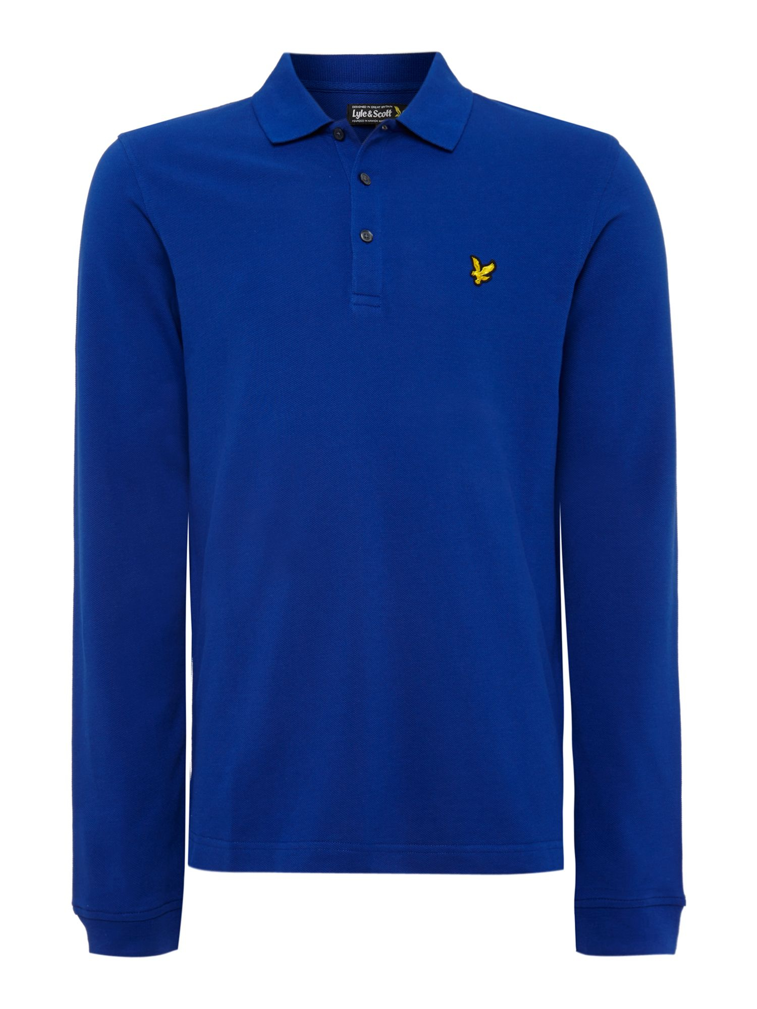 lyle scott regular fit long sleeve polo shirt in blue for men lyst. Black Bedroom Furniture Sets. Home Design Ideas