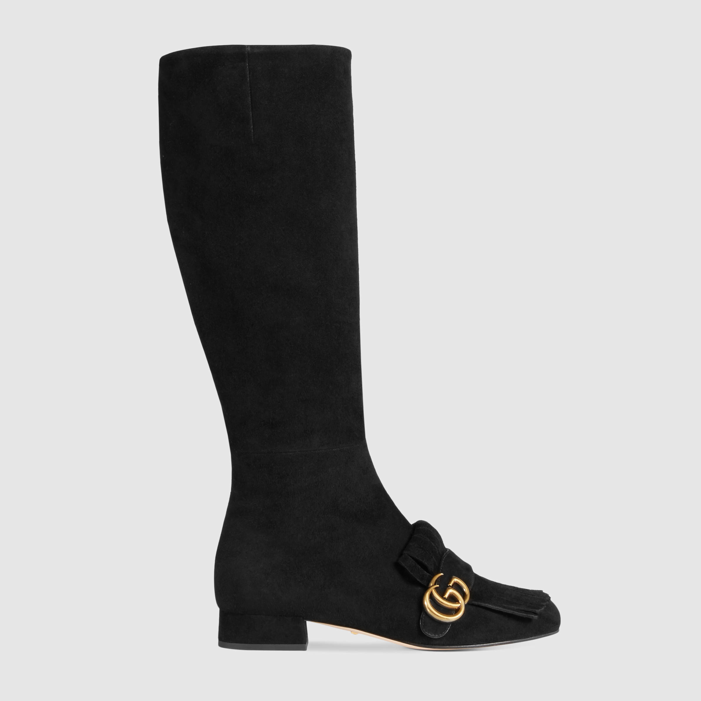 gucci suede knee boot in black lyst