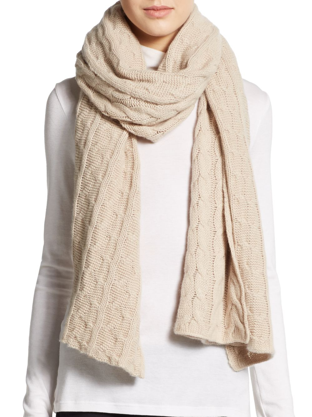 portolano cable knit scarf in lyst
