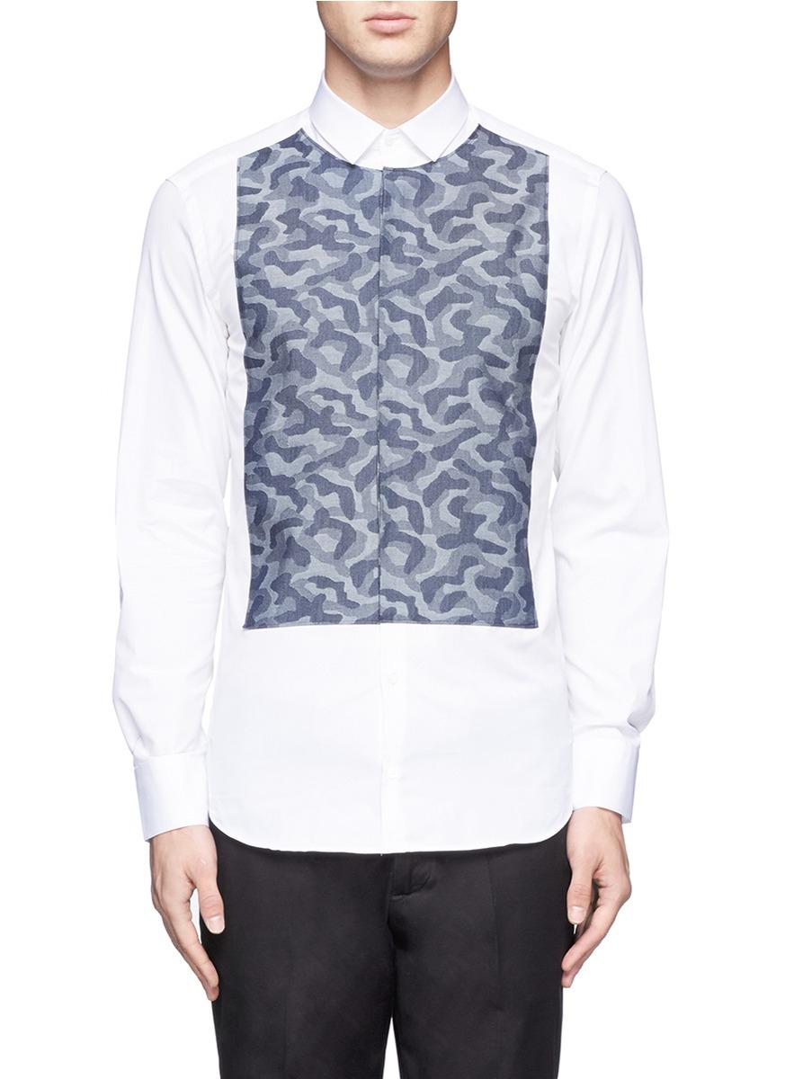 Lyst neil barrett camouflage pattern bib cotton shirt in for Neil barrett tuxedo shirt