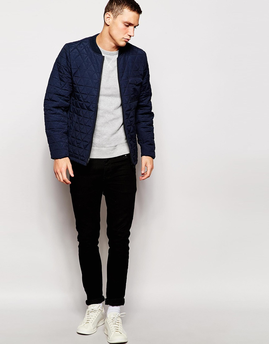 Another influence Quilted Bomber Jacket in Blue for Men | Lyst