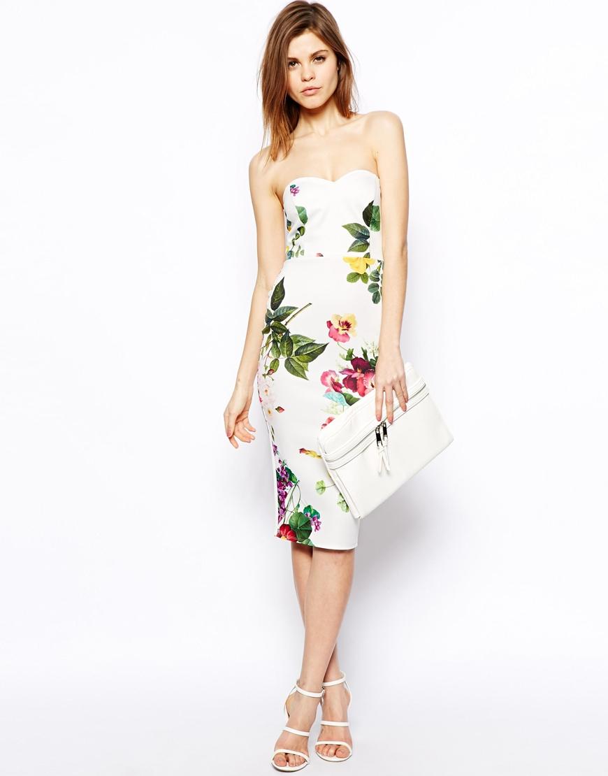 Asos Botanical Floral Bandeau Pencil Dress in Green | Lyst