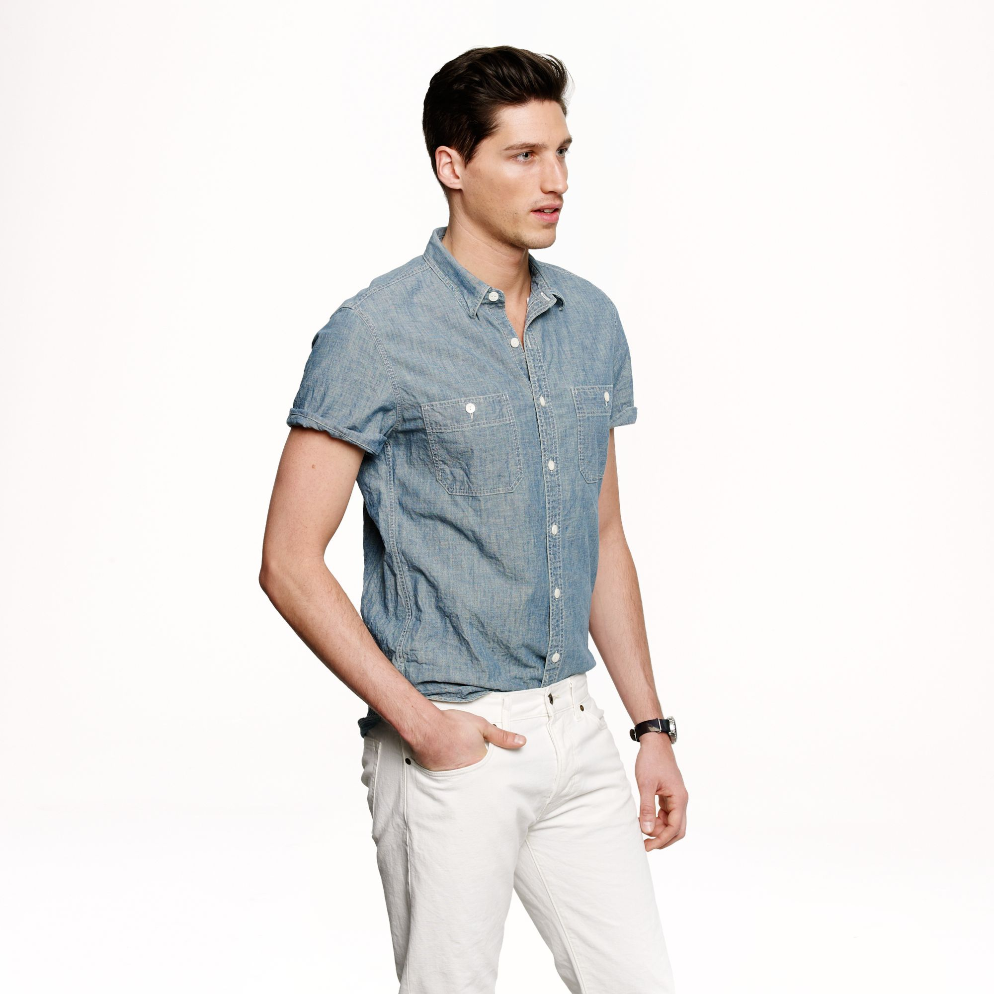 Short sleeve chambray shirt in blue for men for Short sleeved shirts for men