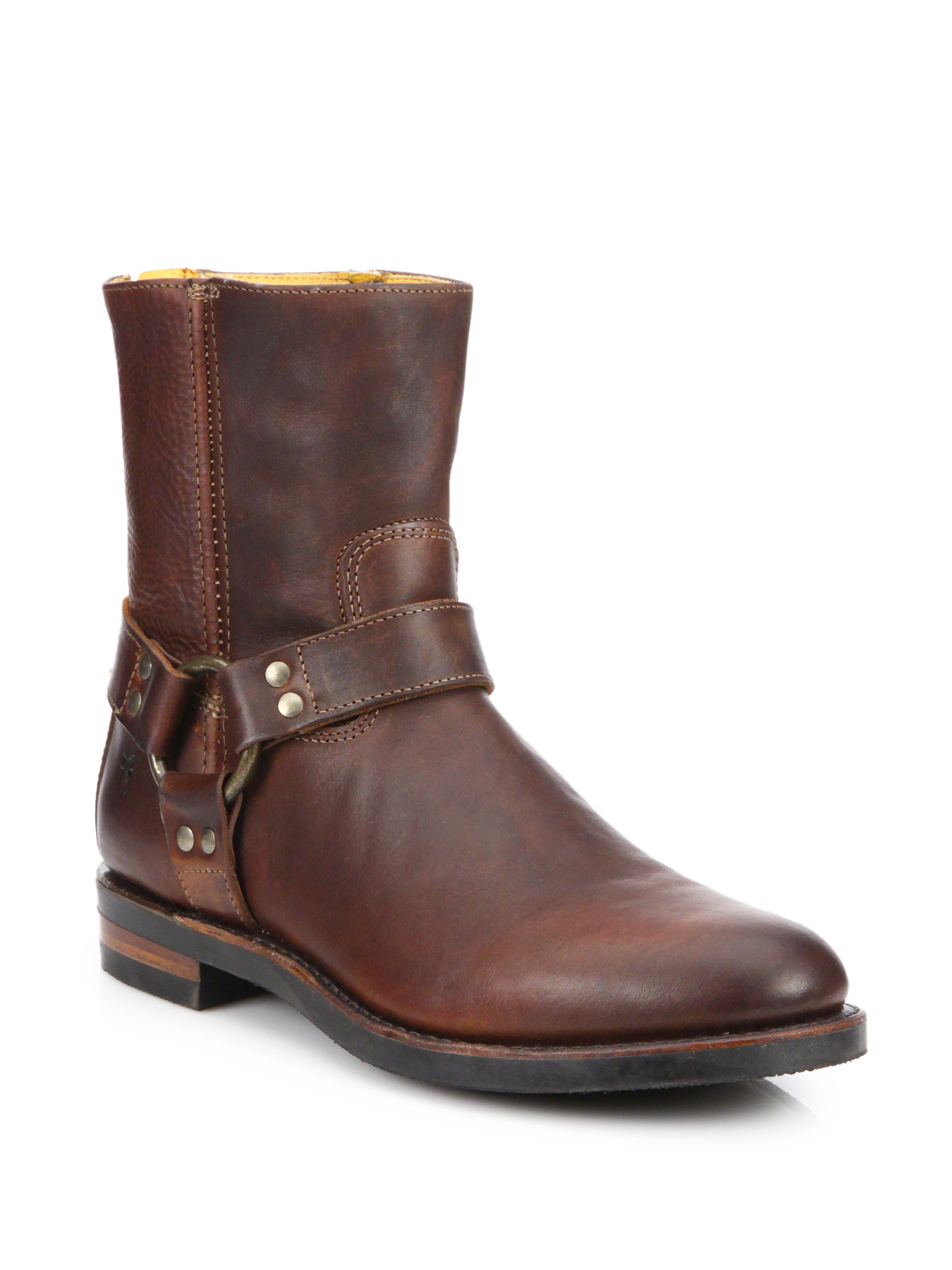 frye clinton harnessed leather moto boots in brown lyst