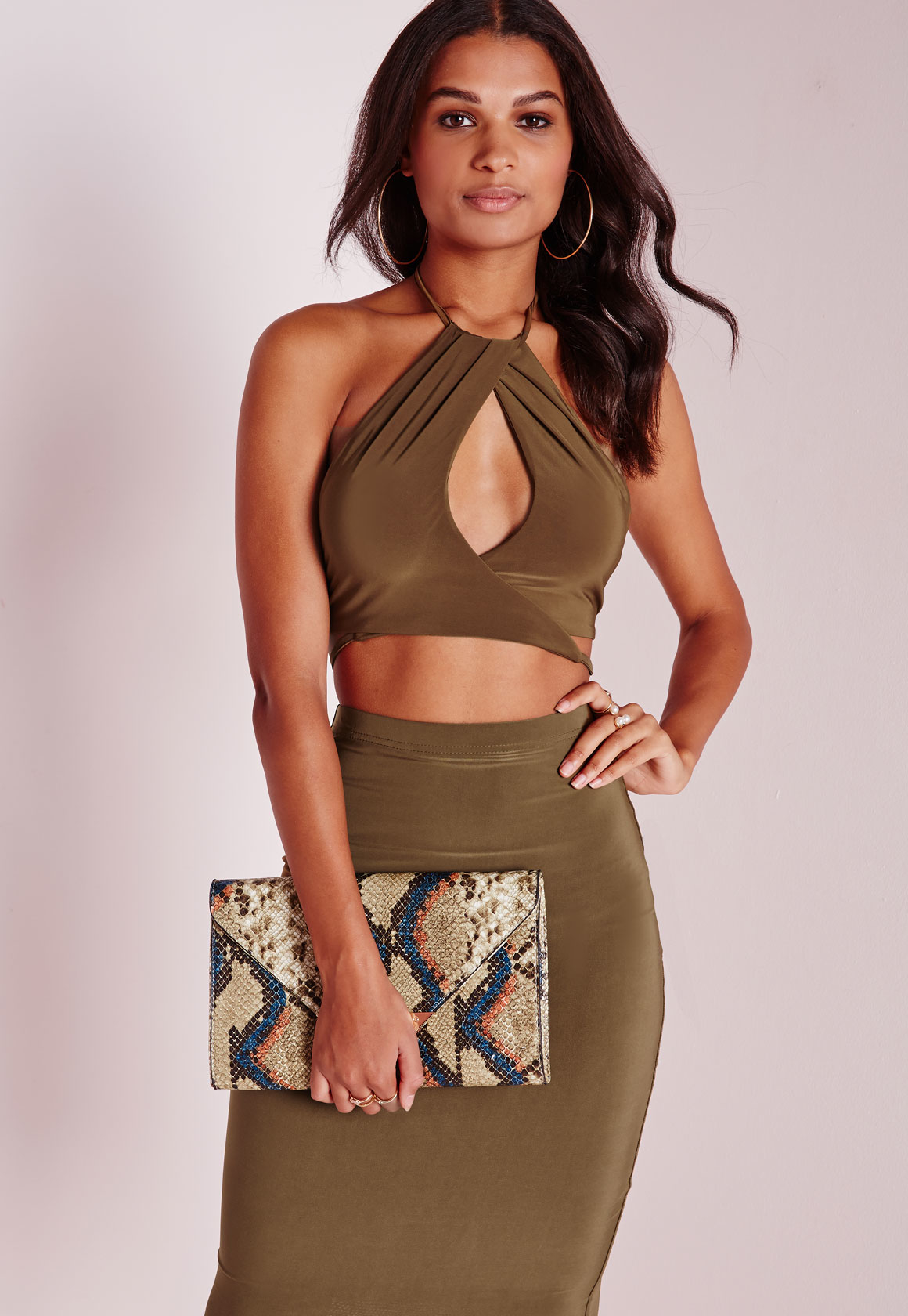 af541657ee4420 Lyst - Missguided Slinky High Neck Keyhole Wrap Front Crop Top Khaki ...