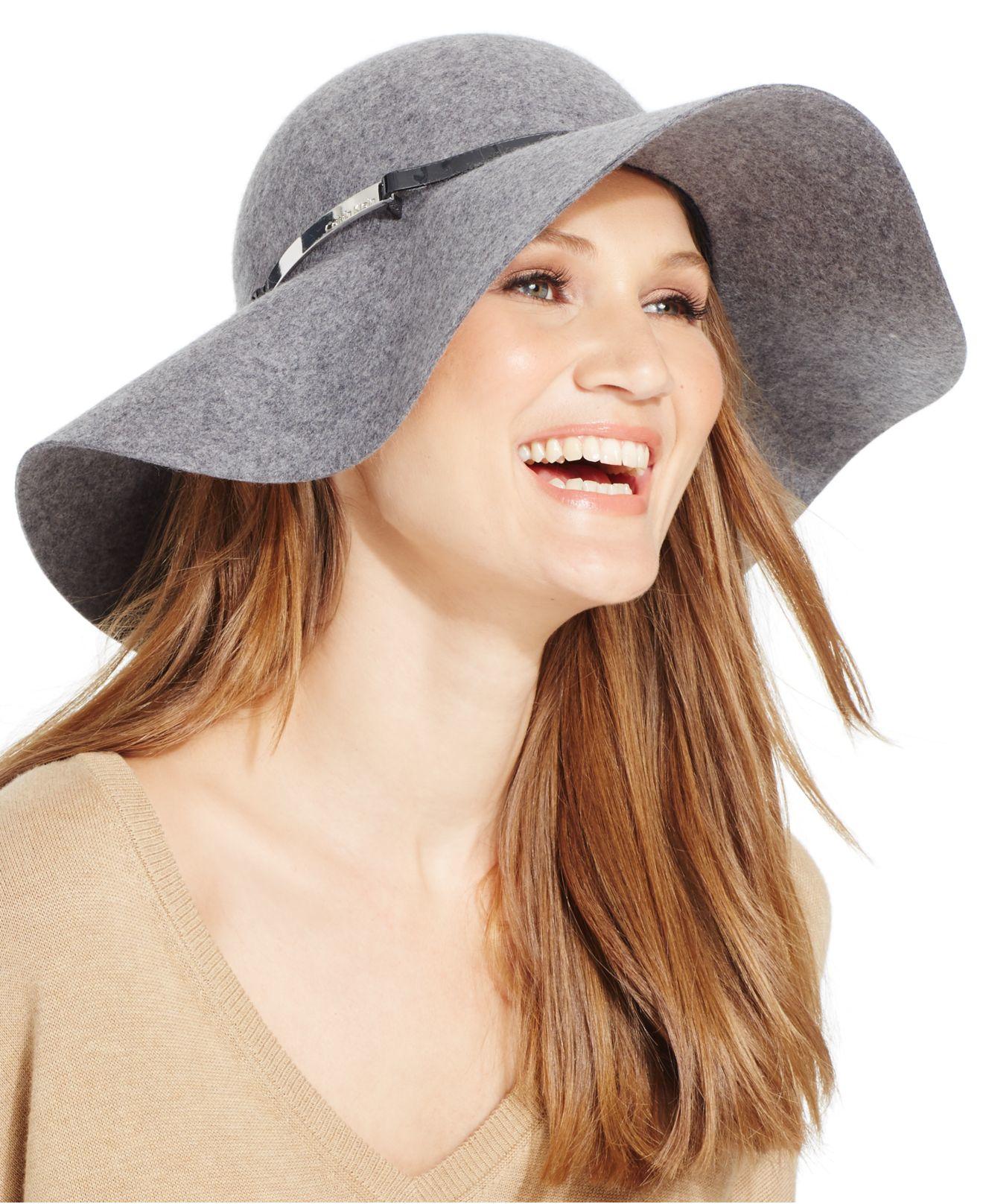 calvin klein wool felt floppy hat in gray lyst
