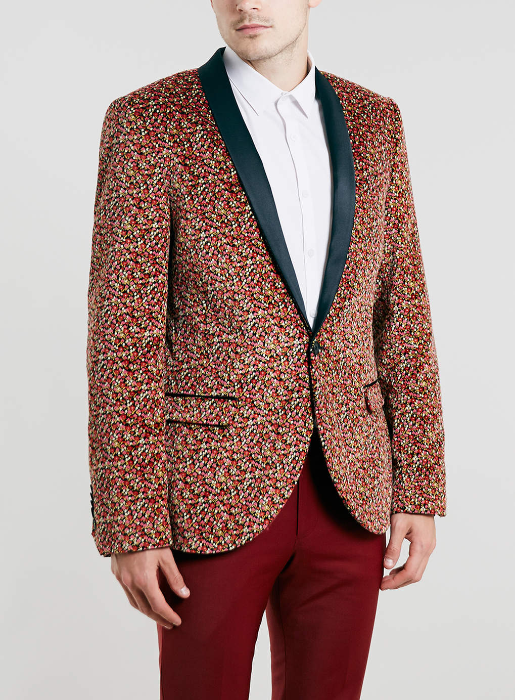 Topman Noose And Monkey Floral Velvet Blazer In Multicolor