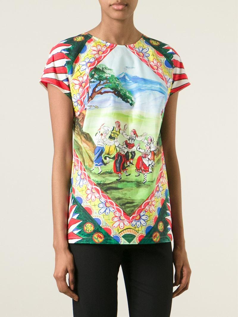 Dolce gabbana folklore print t shirt lyst for Dolce and gabbana printed t shirts