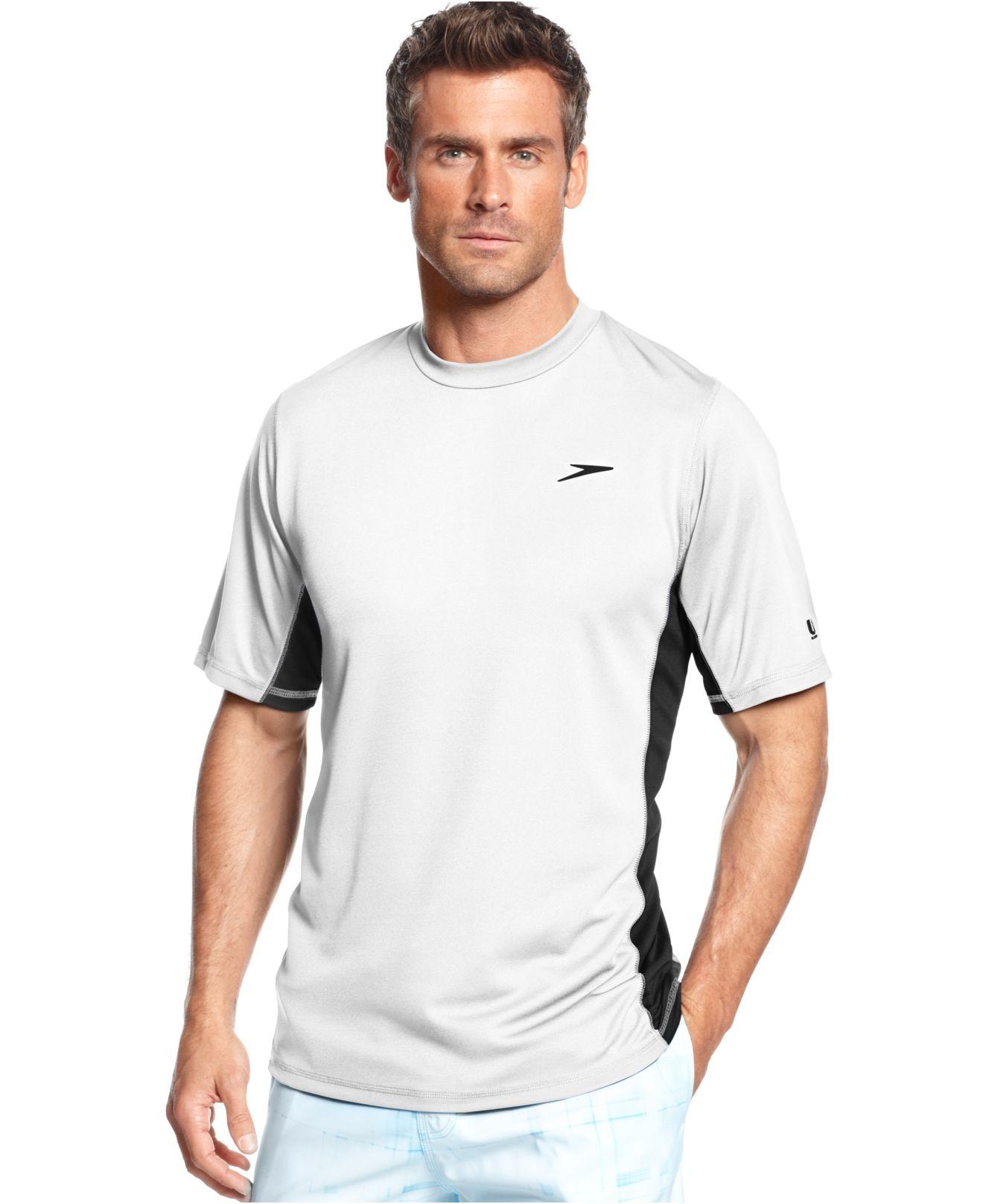 Speedo performance uv protection longview short sleeve for Men s uv swim shirt short sleeve