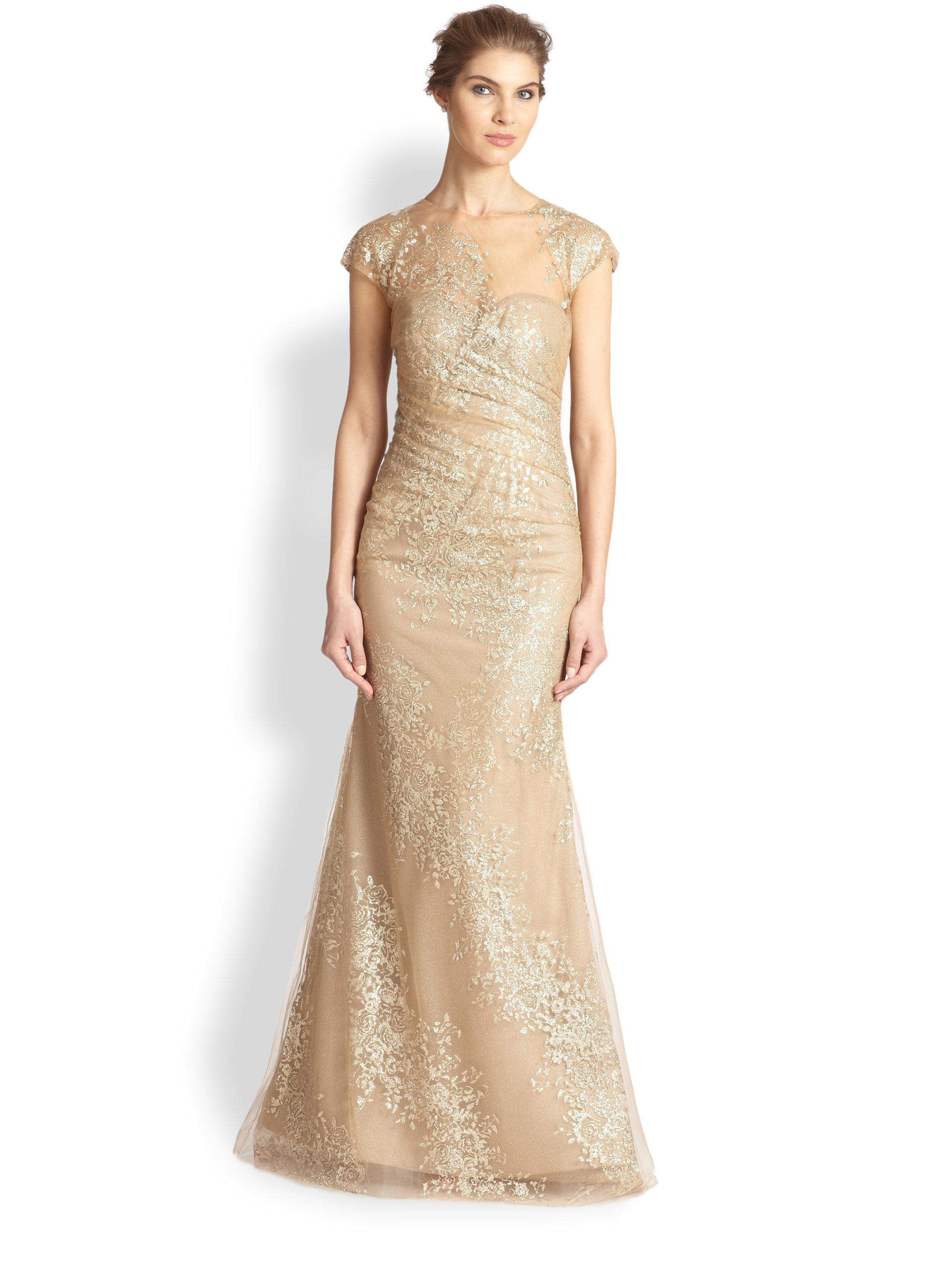 Lyst - Rene Ruiz Sequined Organza Gown in Metallic