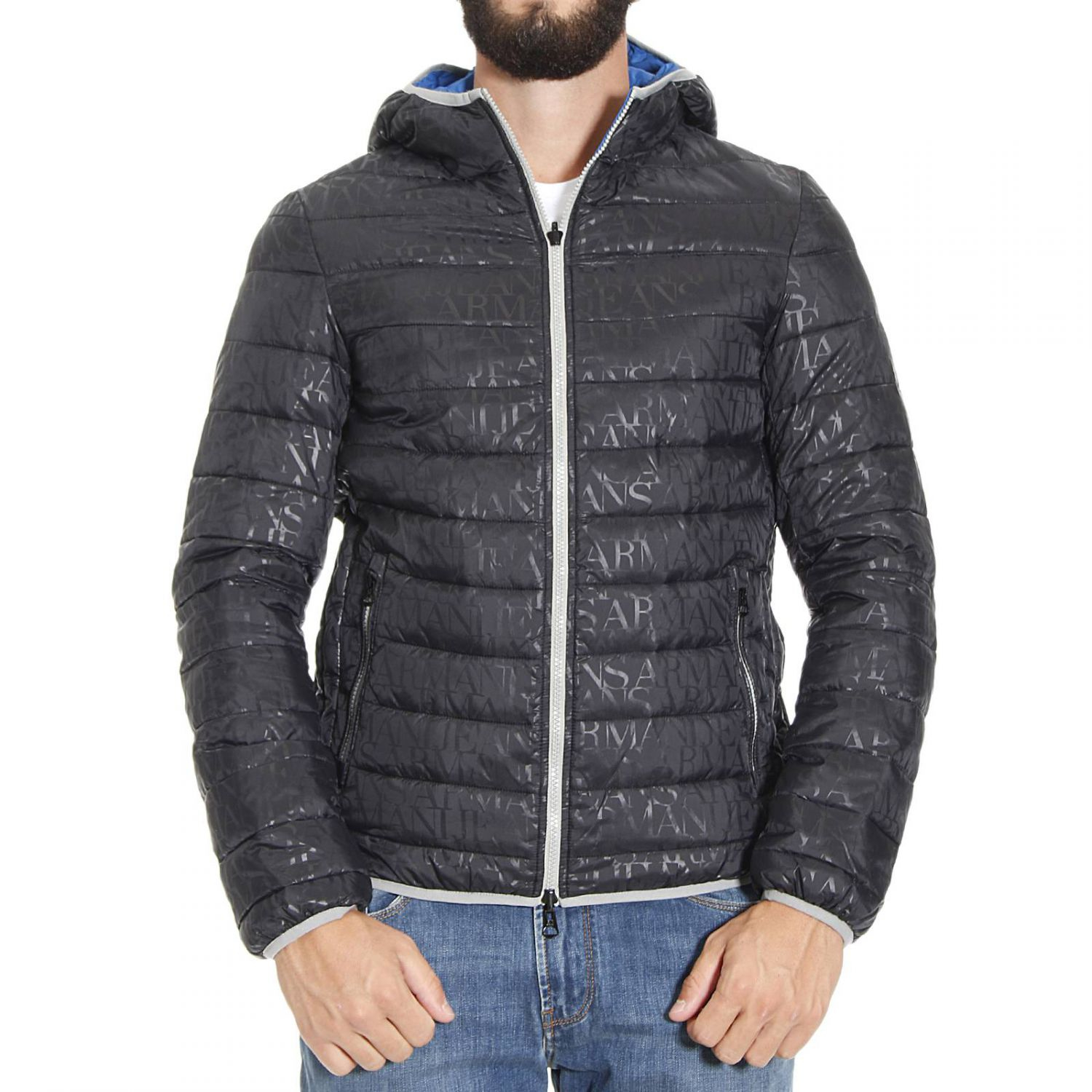 lyst armani jeans down jacket in black for men. Black Bedroom Furniture Sets. Home Design Ideas
