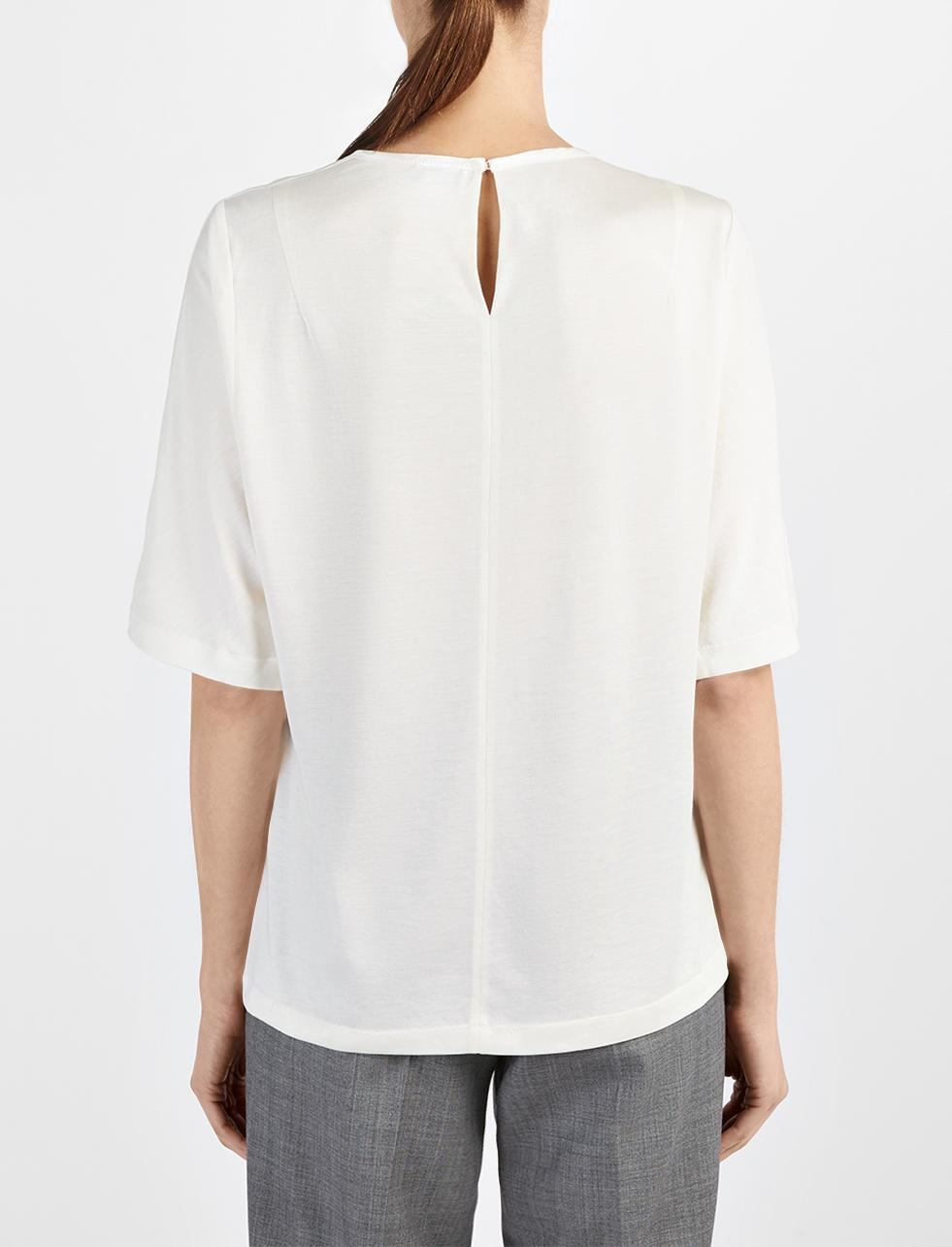 Lyst joseph cotton silk and satin tee in white for Cotton silk tee shirts