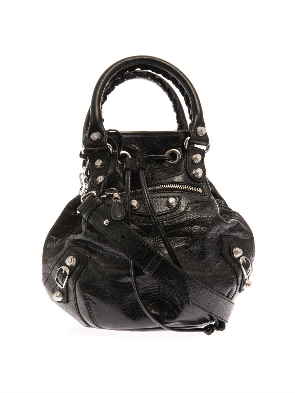 Lyst - Balenciaga Giant Pom-Pom Leather Bucket Bag in Black 5338449a8363d