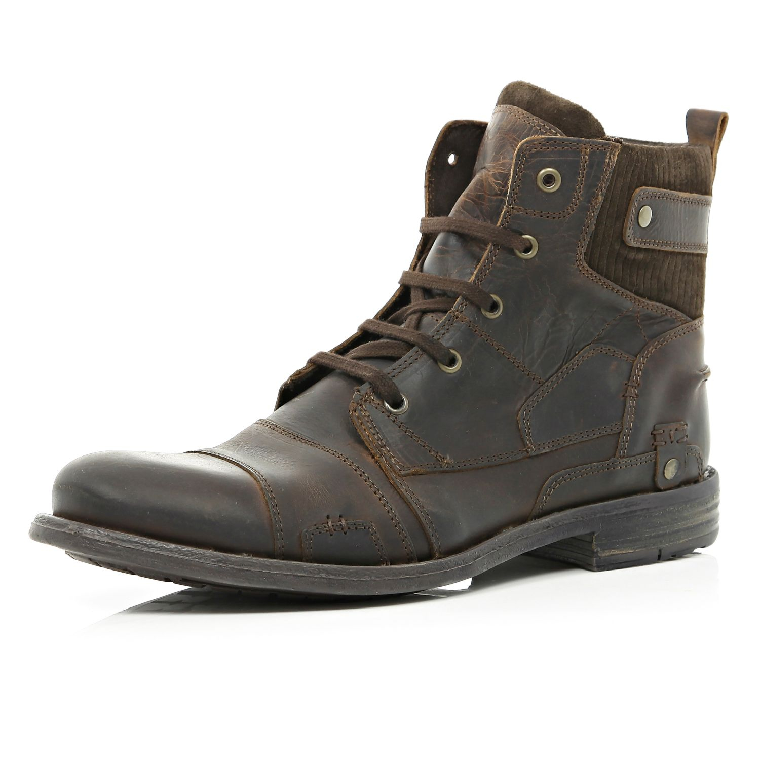 River Island Brown Contrast Panel Military Boots In Brown