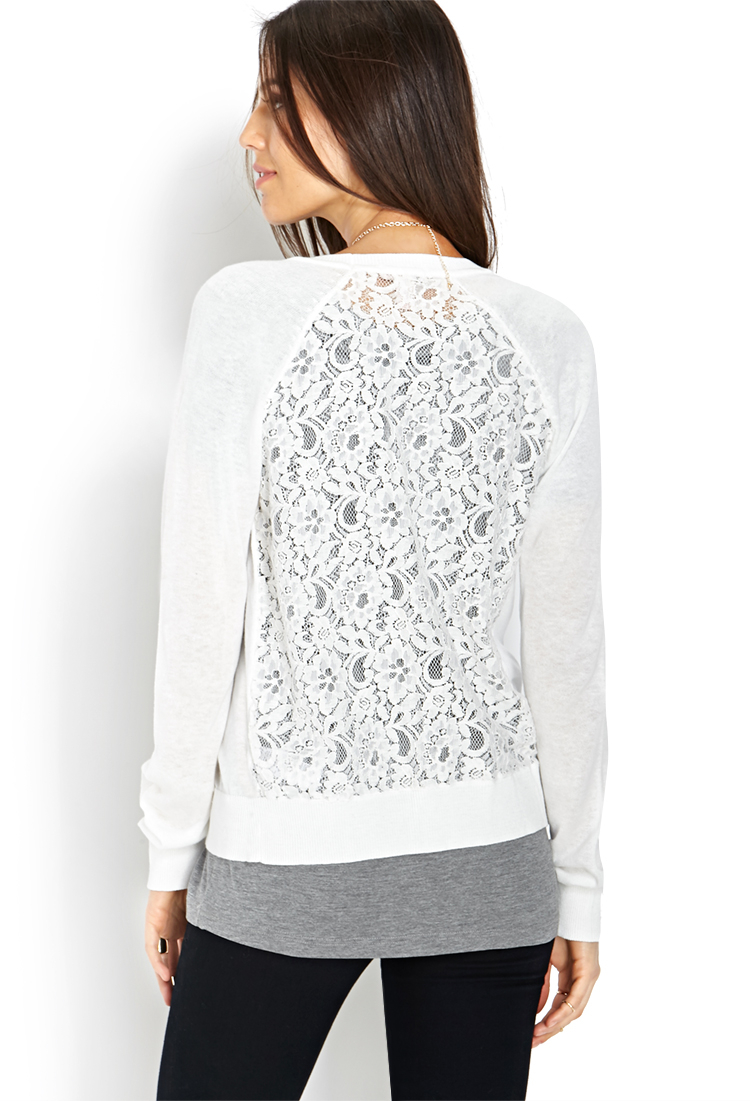 Forever 21 Lace Panel Cardigan in White | Lyst