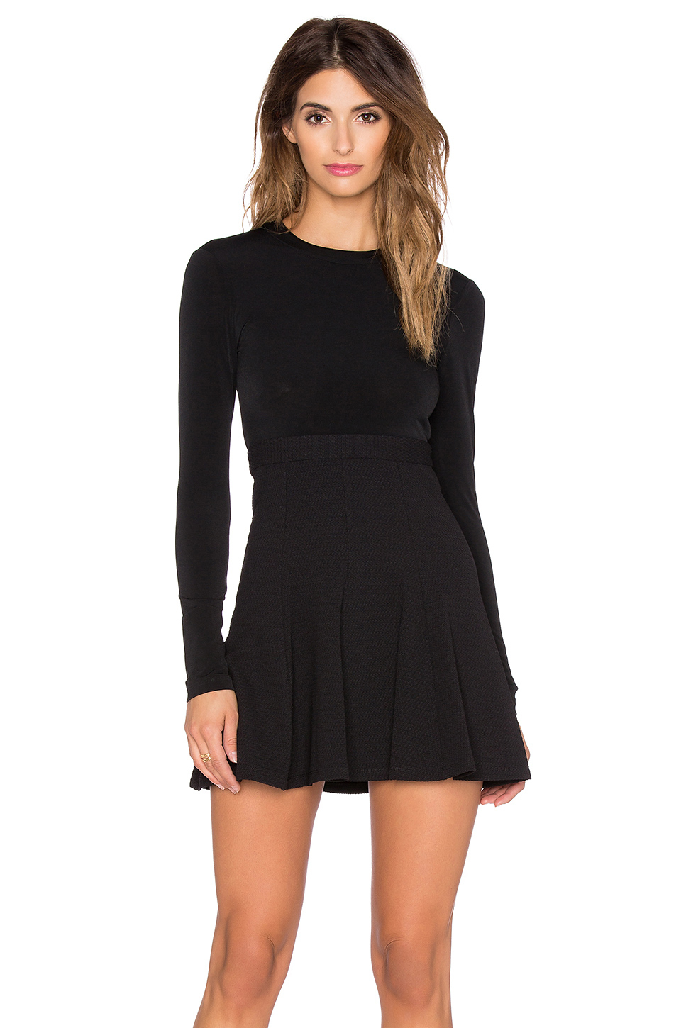 Lyst Bcbgeneration Long Sleeve Fit Amp Flare Dress In Black