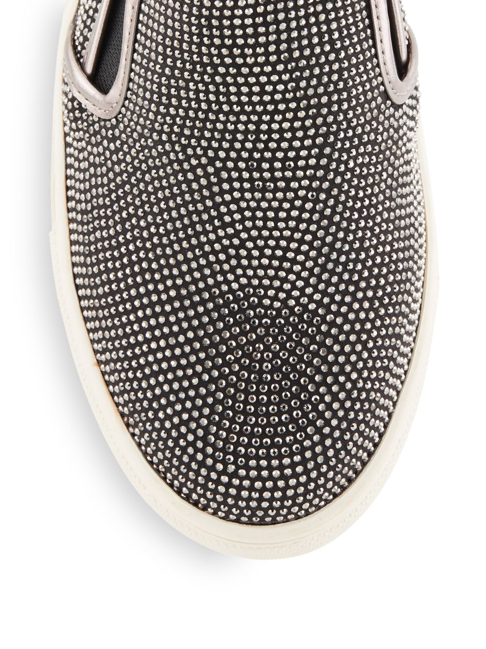Steve Madden Exsess Rhinestone Slip On Sneakers In Black