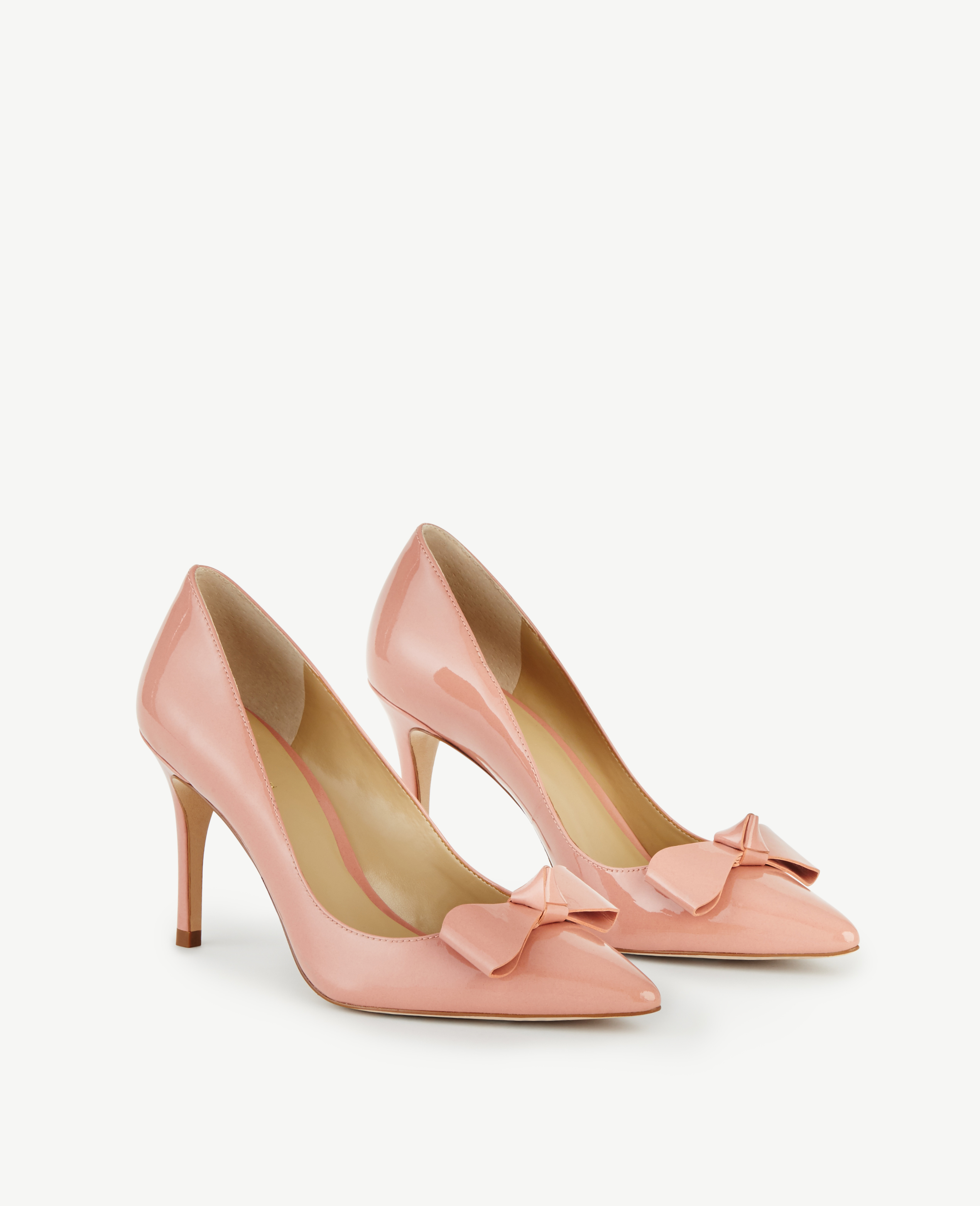 d5bc67a4195 Lyst - Ann Taylor Charlie Patent Bow Pumps in Pink