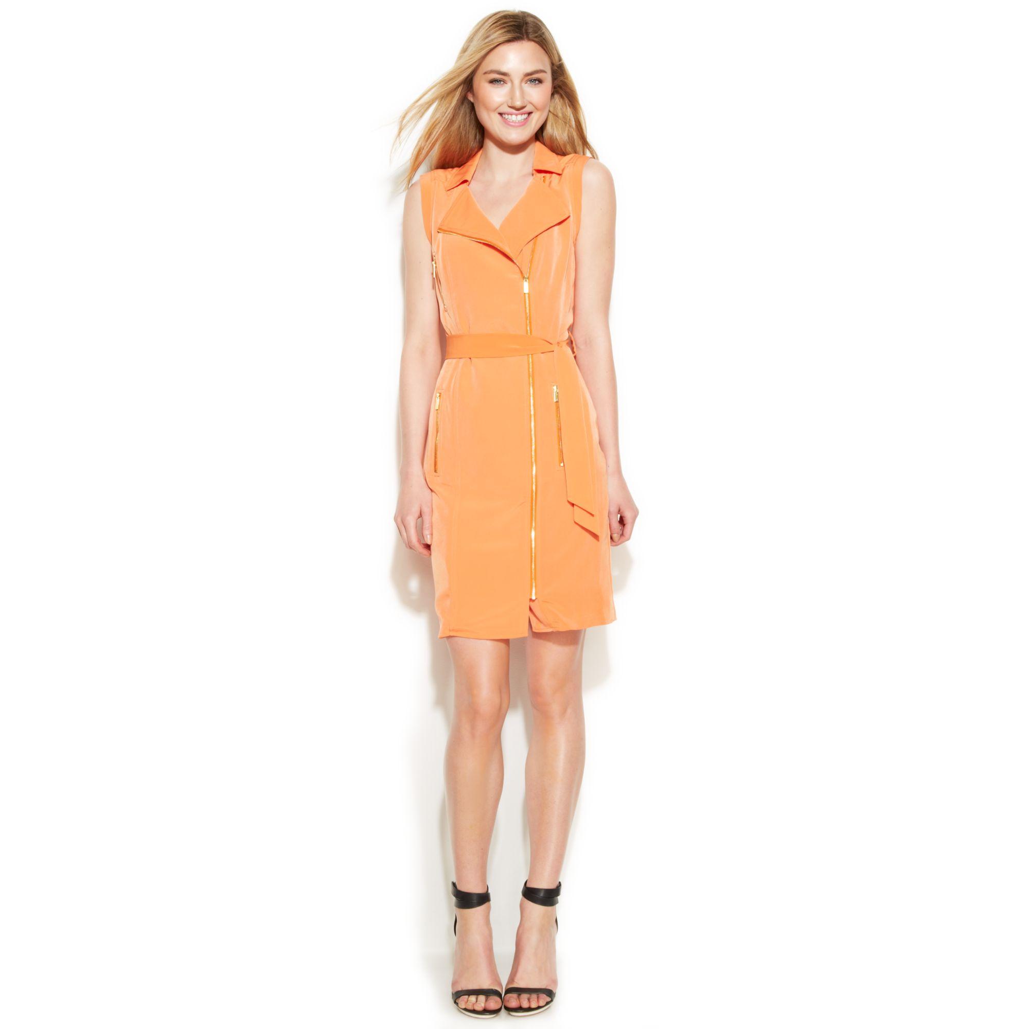 calvin klein sleeveless belted moto dress in orange lyst
