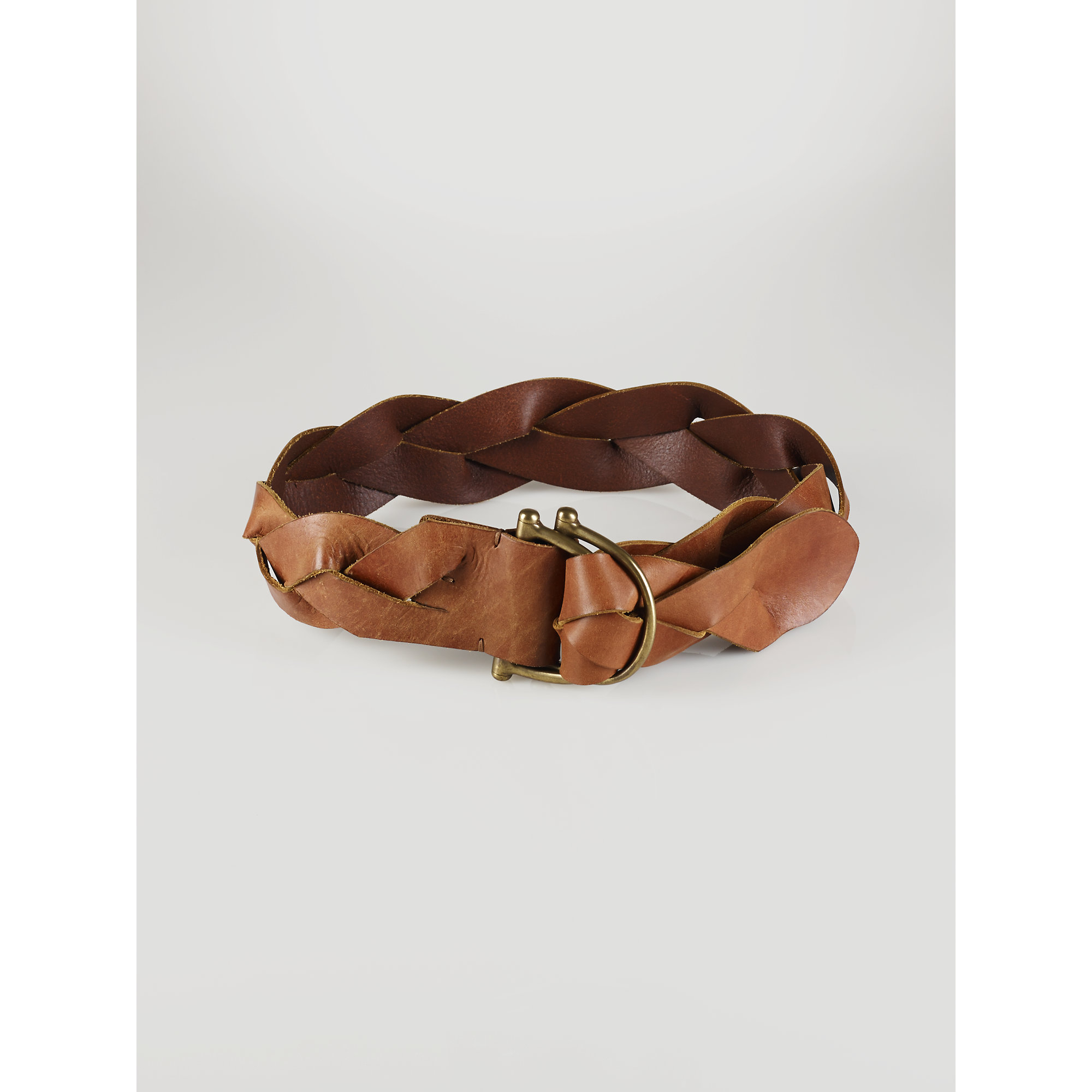 Lyst - Polo Ralph Lauren Wide Woven-Leather Belt in Brown a8ef1ded6a