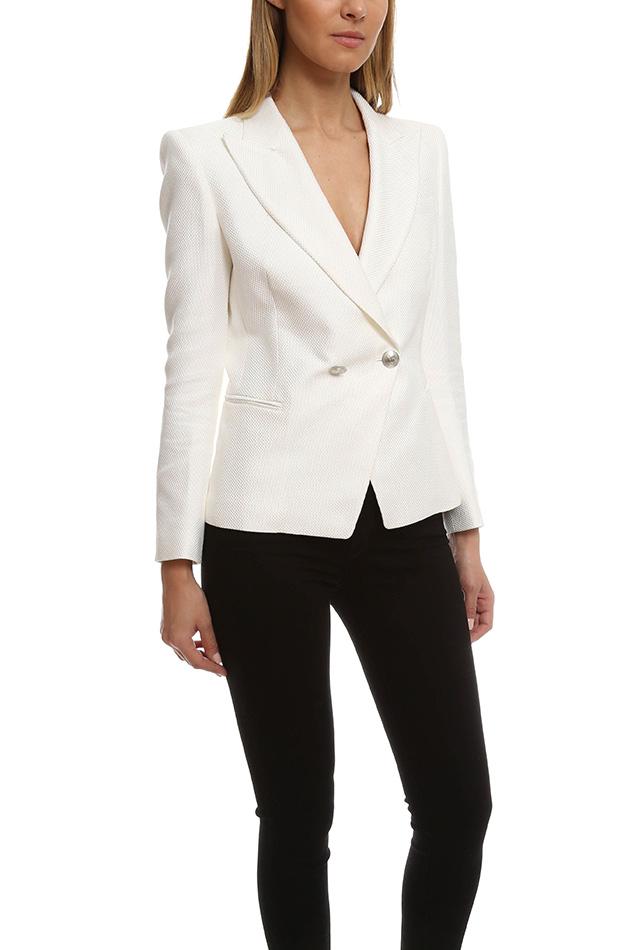 Balmain Cotton-Blend Military Jacket in White
