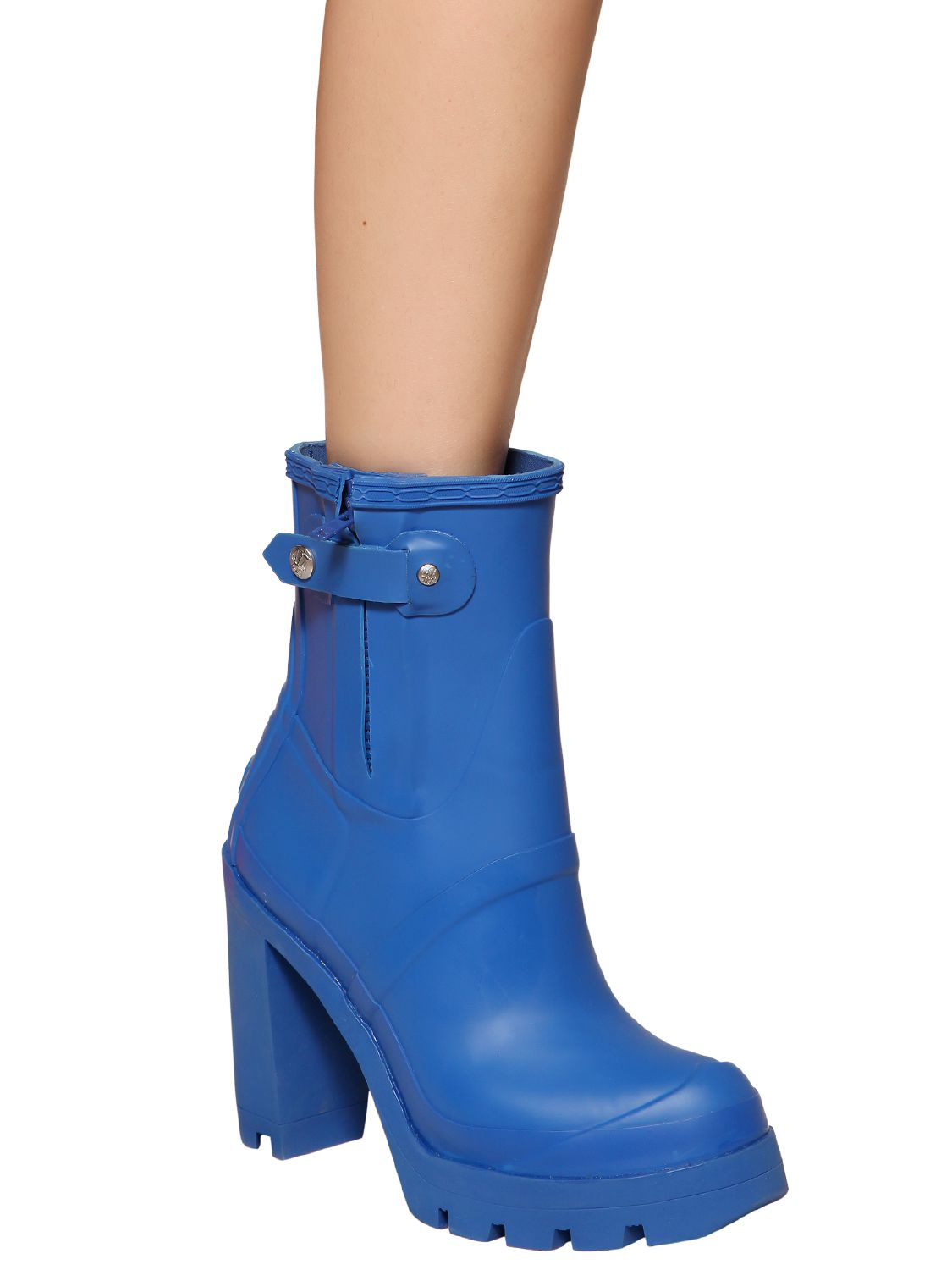 Hunter 110mm High Heel Rubber Ankle Boots in Blue | Lyst