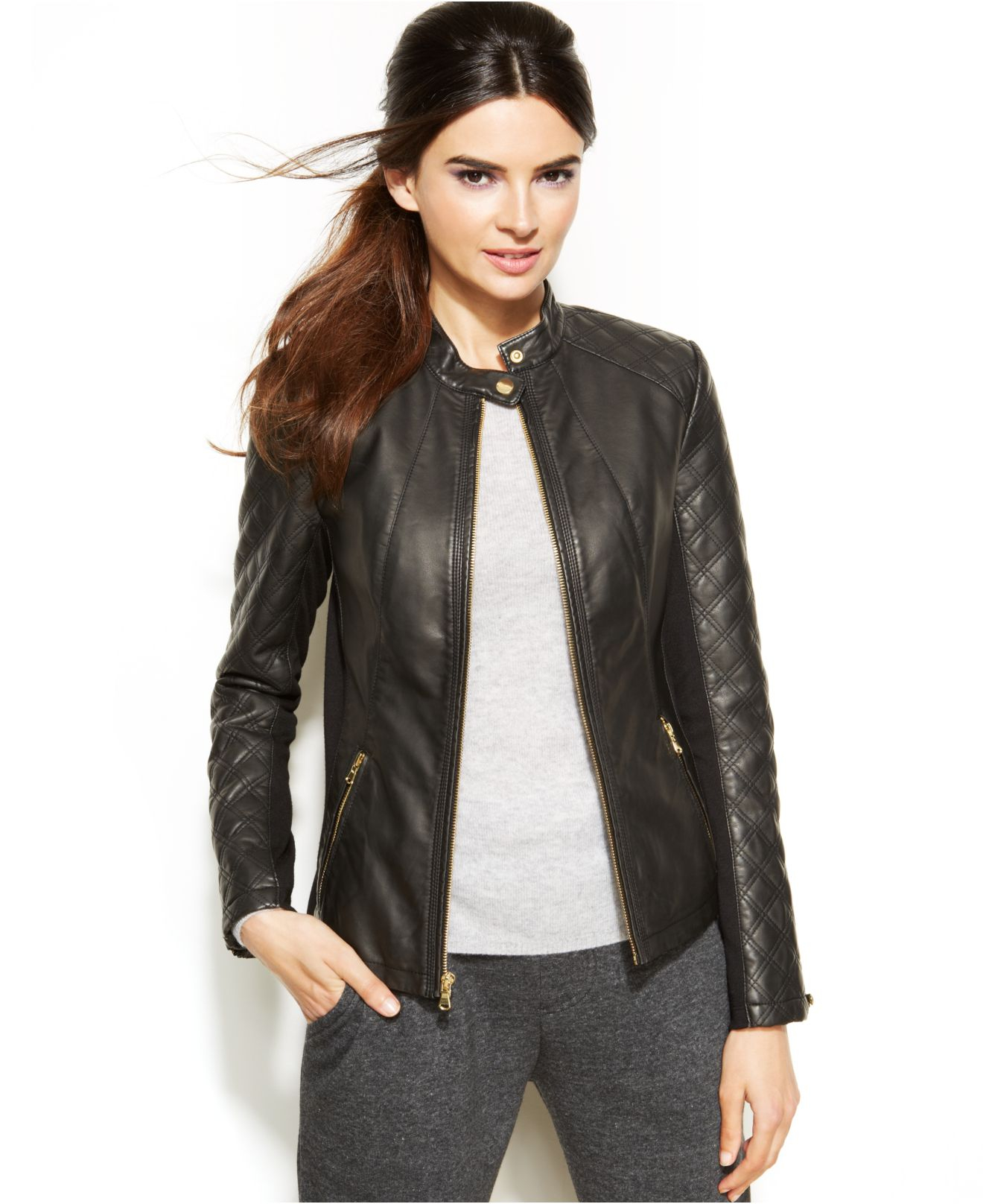 Images of Faux Leather Jacket Juniors - Reikian