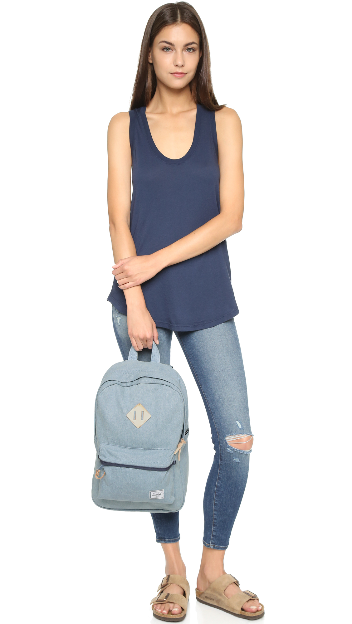 Lyst - Herschel Supply Co. Heritage Mid Volume Backpack - Denim in Blue ba55816e9db31