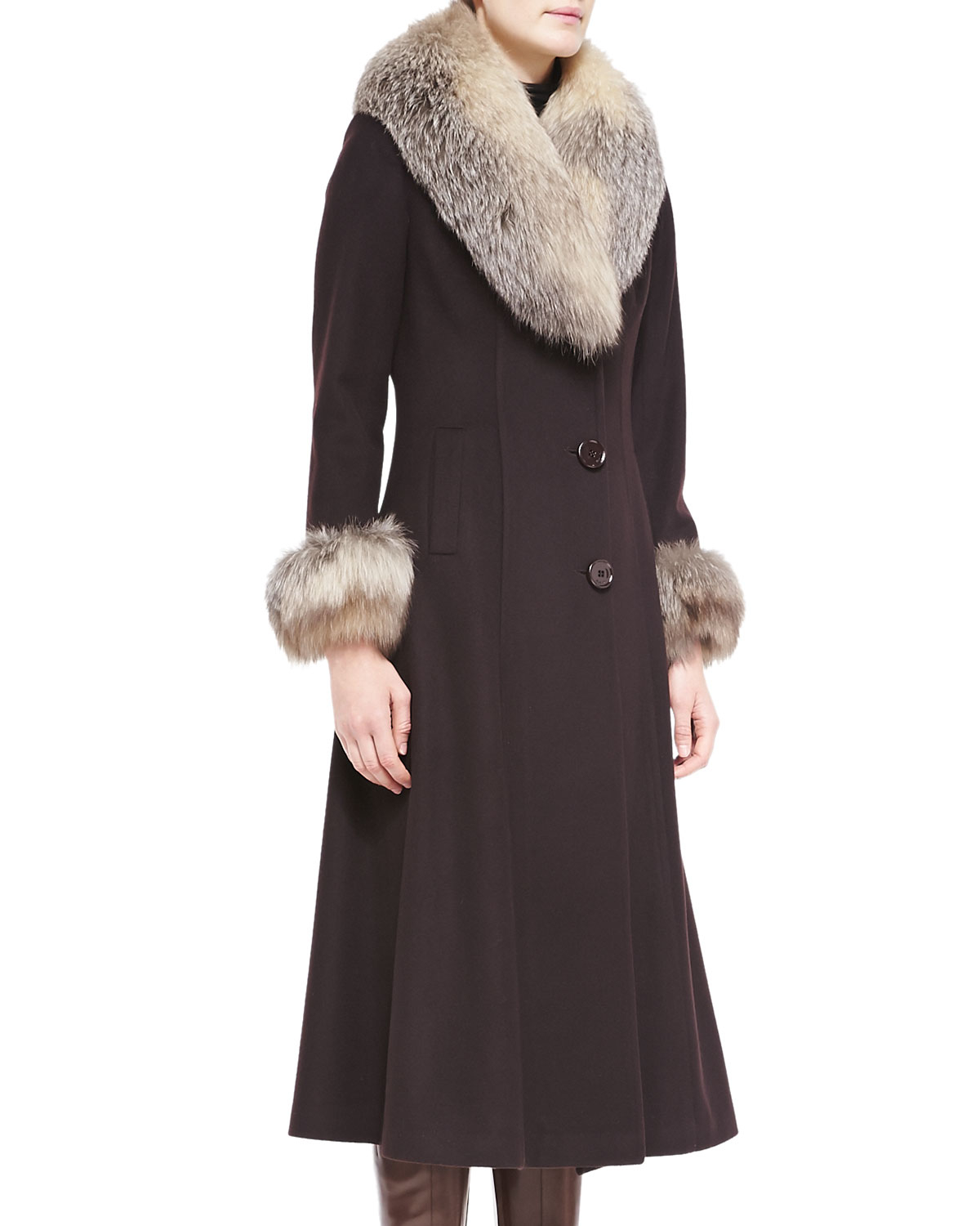 Belle fare Maxi Cashmere Coat W/ Fur Trim in Gray | Lyst