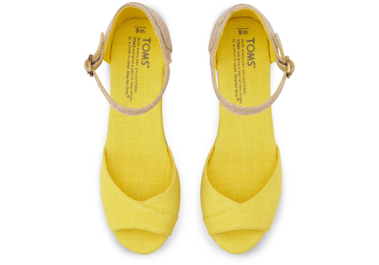 Lyst Toms Mix Womens Linen Platform Wedges In Yellow