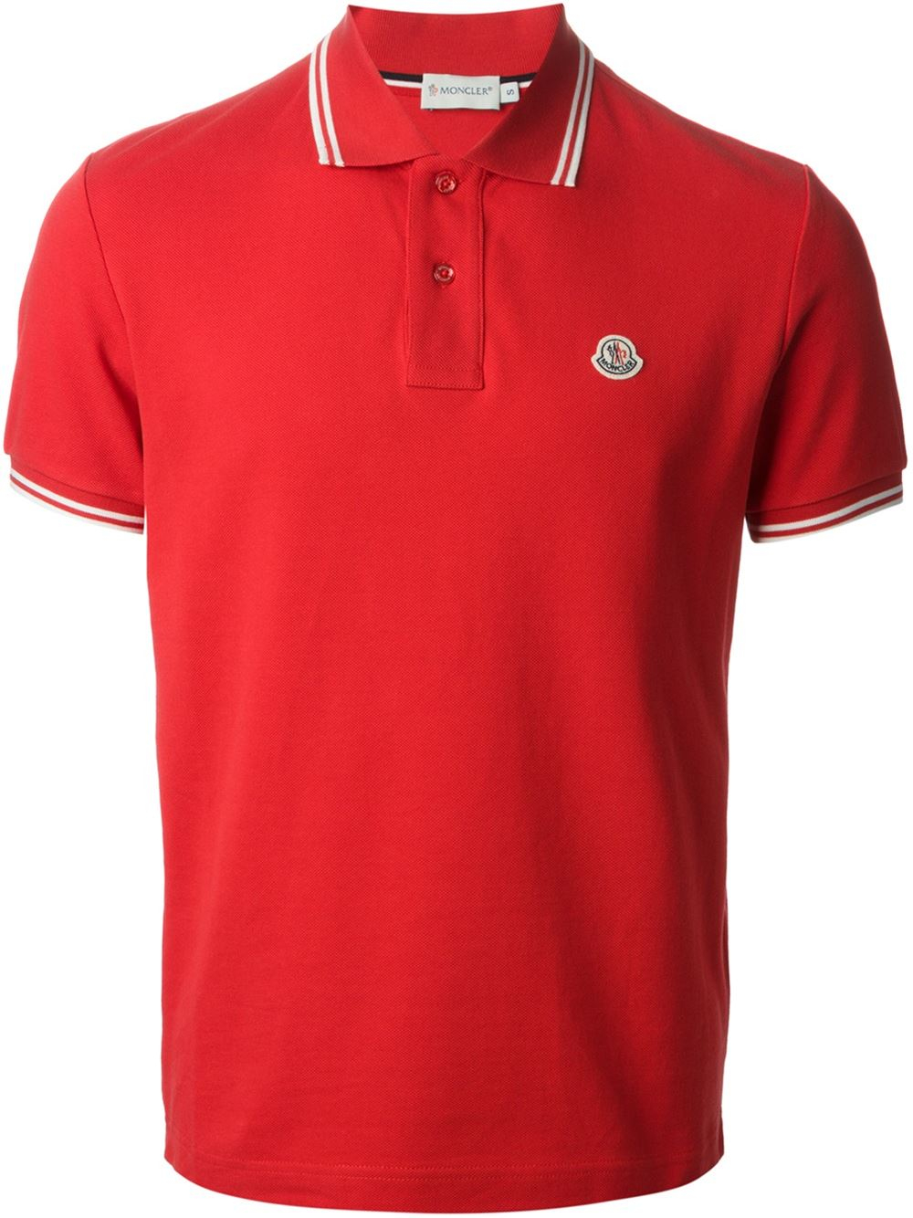 Moncler striped trim polo shirt in red for men lyst for Red white striped polo shirt
