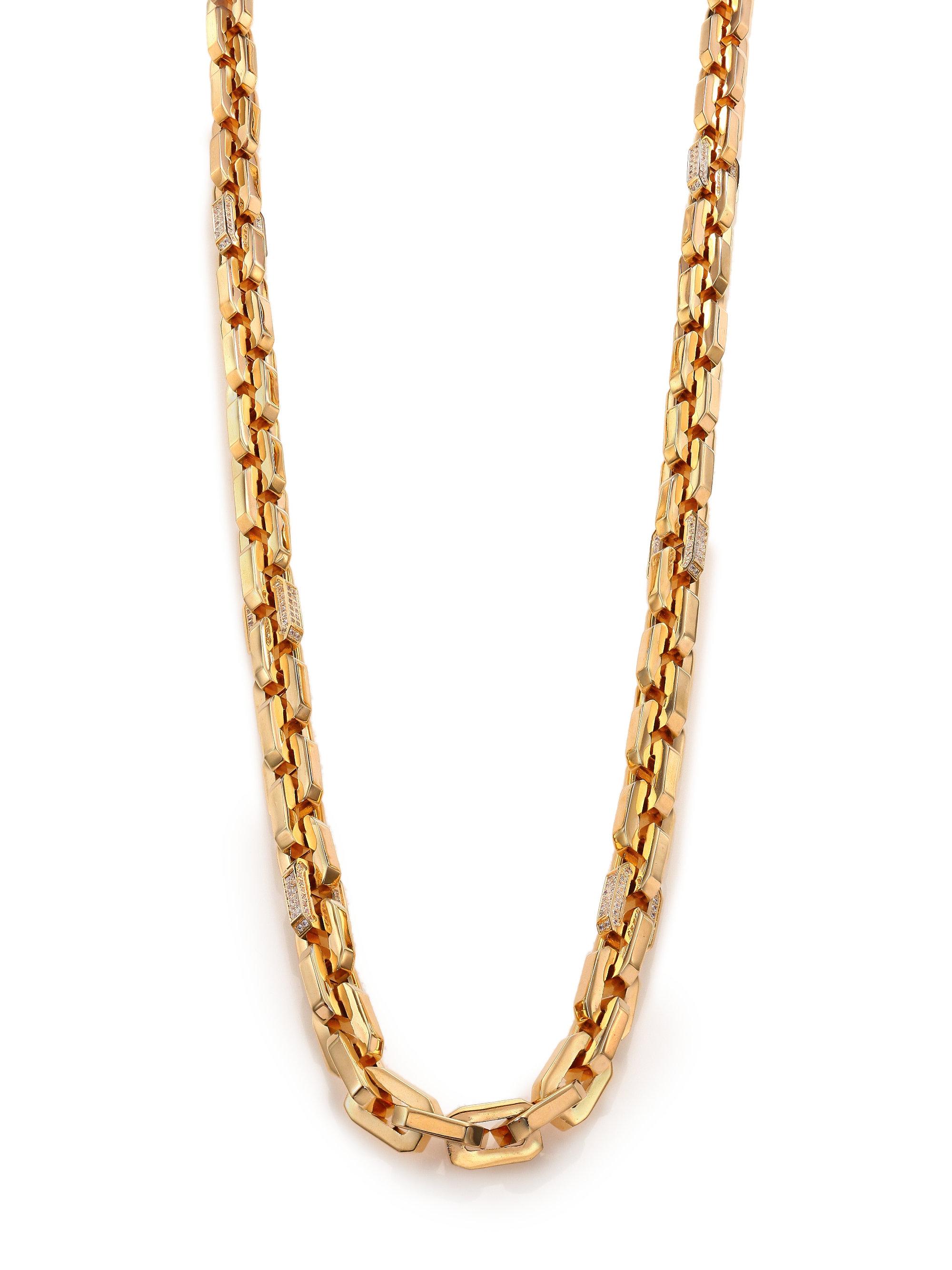 Eddie Borgo Pave Crystal Small Supra Link Necklace In