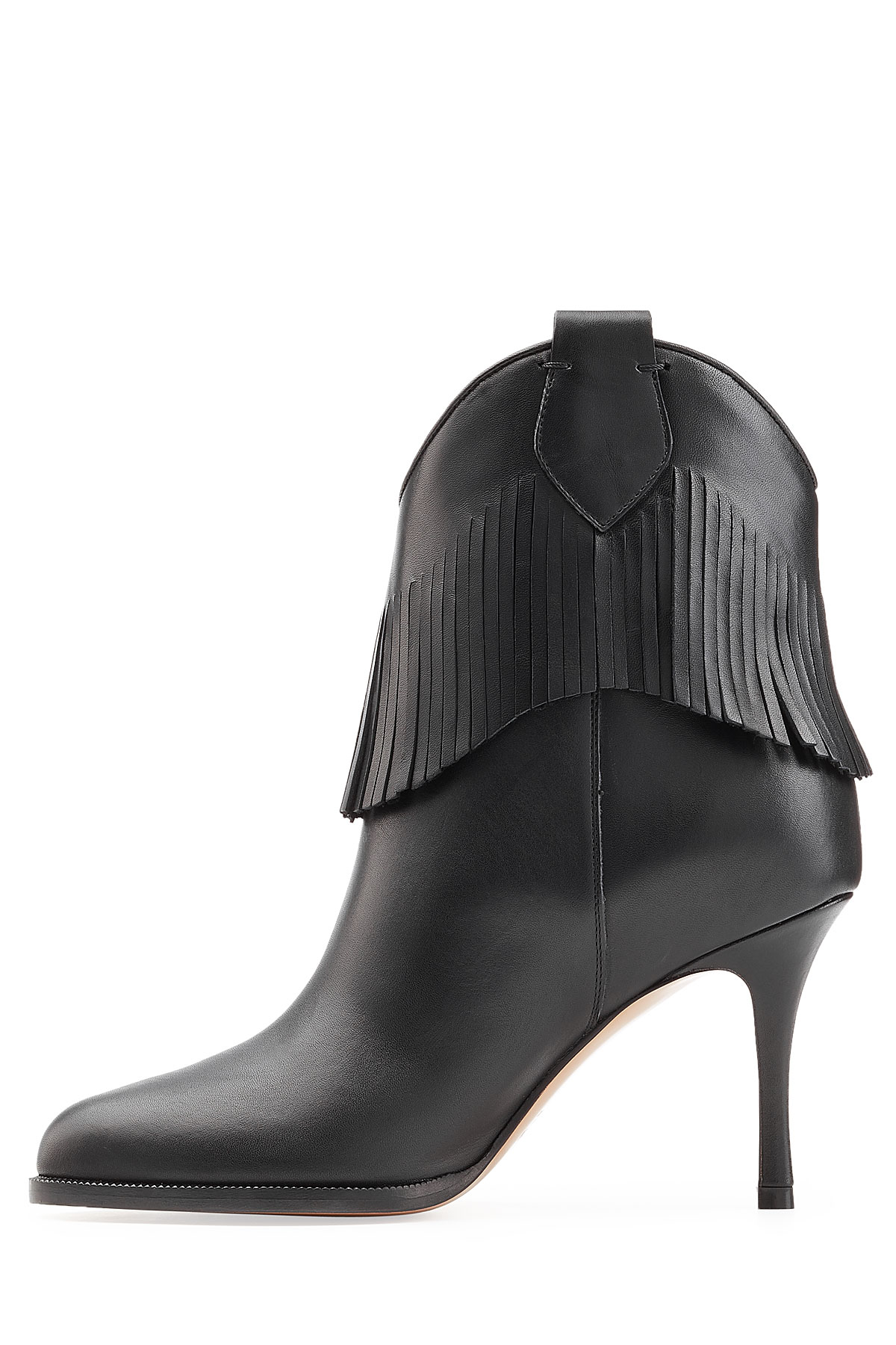 valentino leather boots with fringe in black lyst