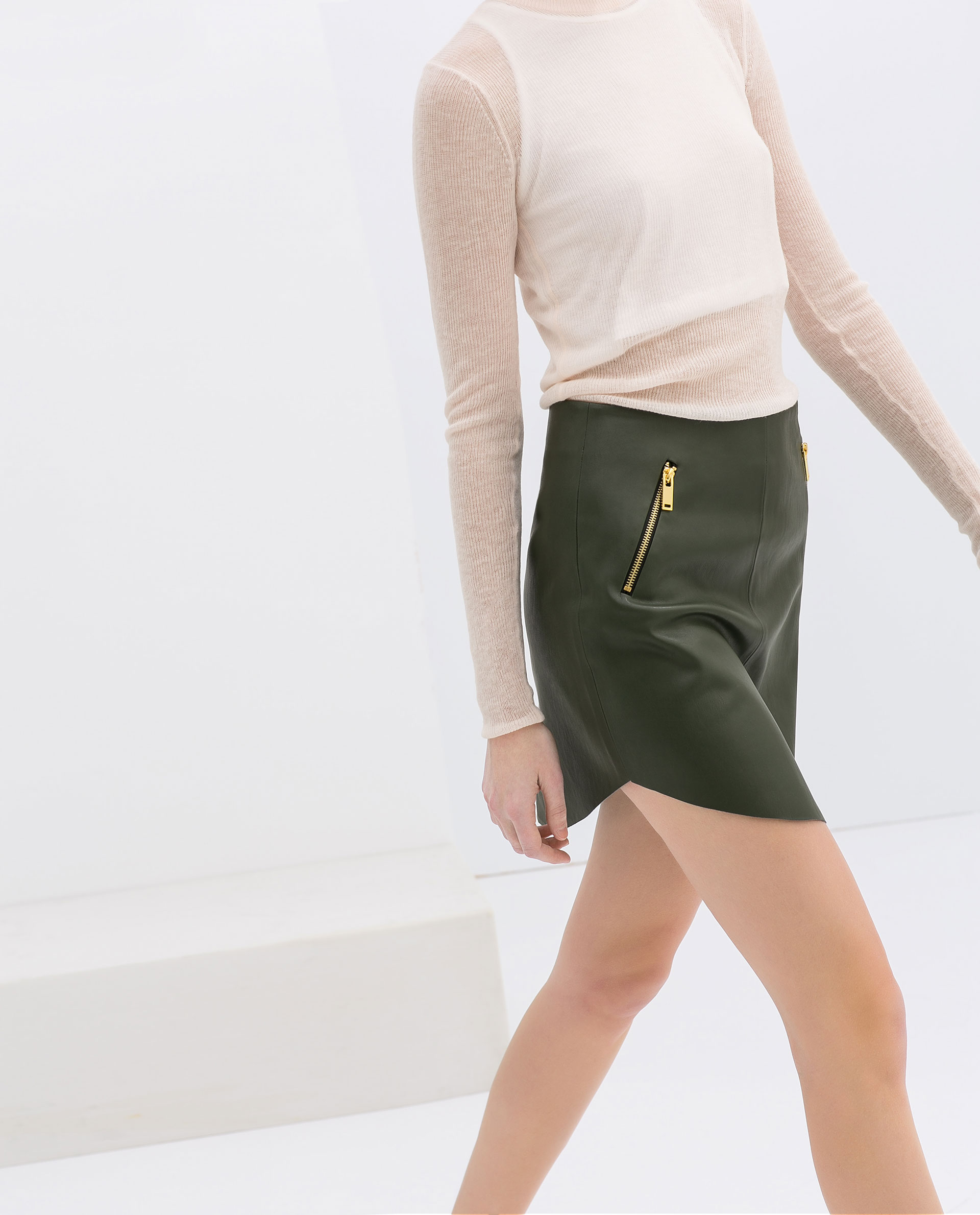 zara imitation leather skirt with zips in green lyst
