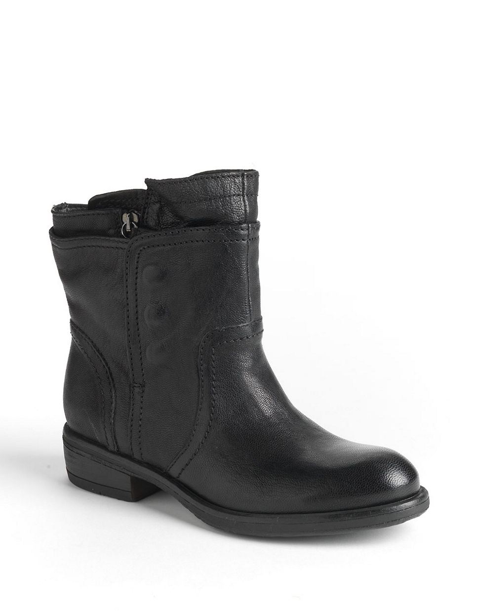 vera wang lavender ozita leather moto boots in black lyst