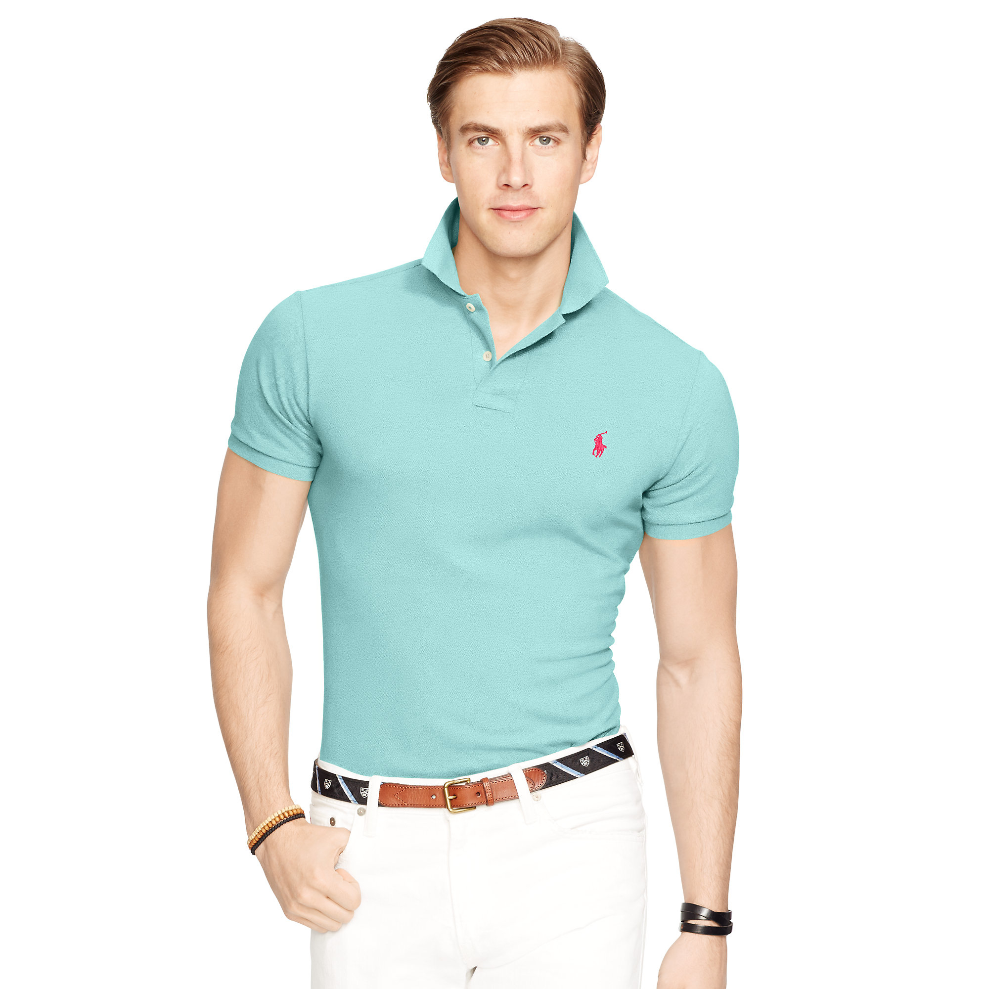 5c149b8565779 Lyst - Polo Ralph Lauren Slim-fit Mesh Polo Shirt in Blue for Men