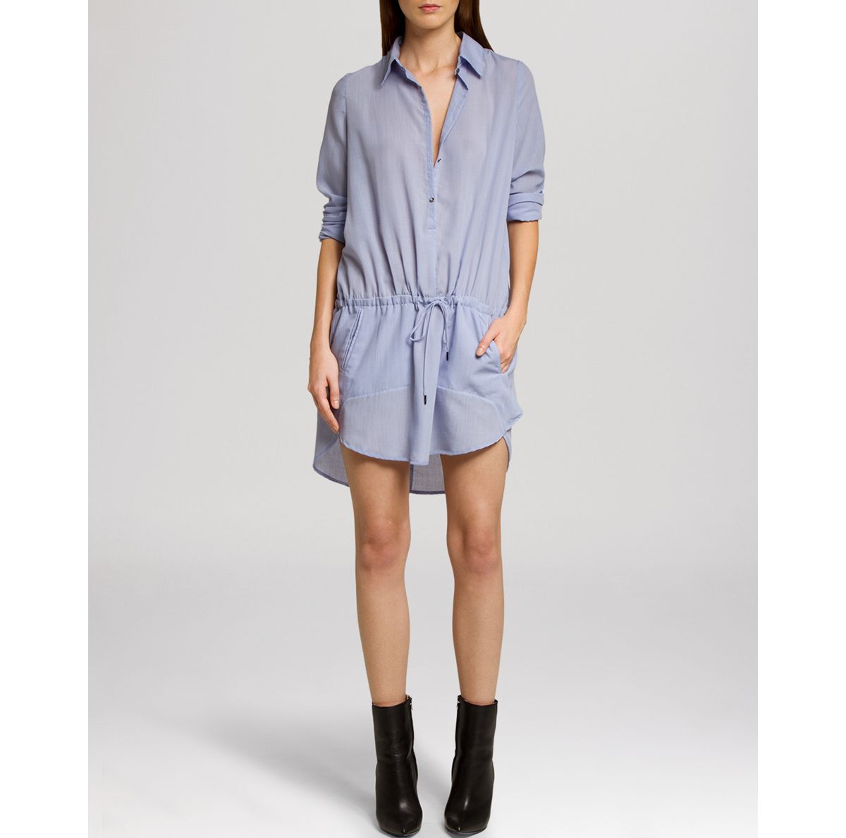 Halston heritage dress shirt in blue sky lyst for Halston heritage shirt dress