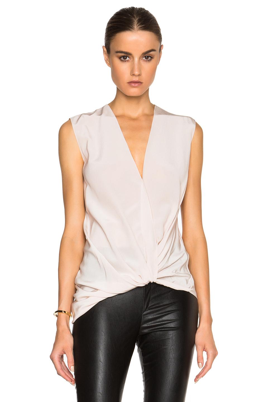 White Silk V-Neck Blouse 105