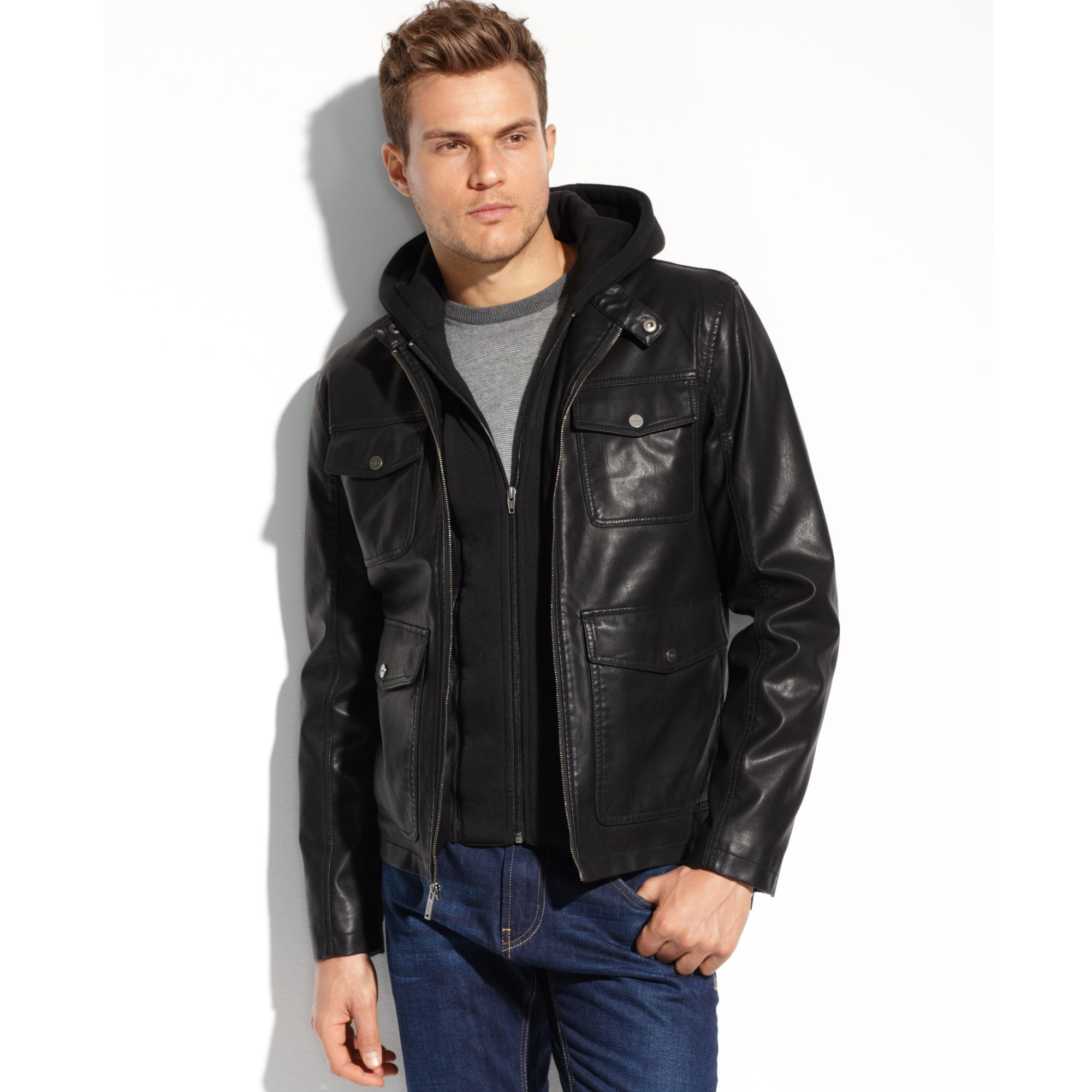 Guess leather jackets for men