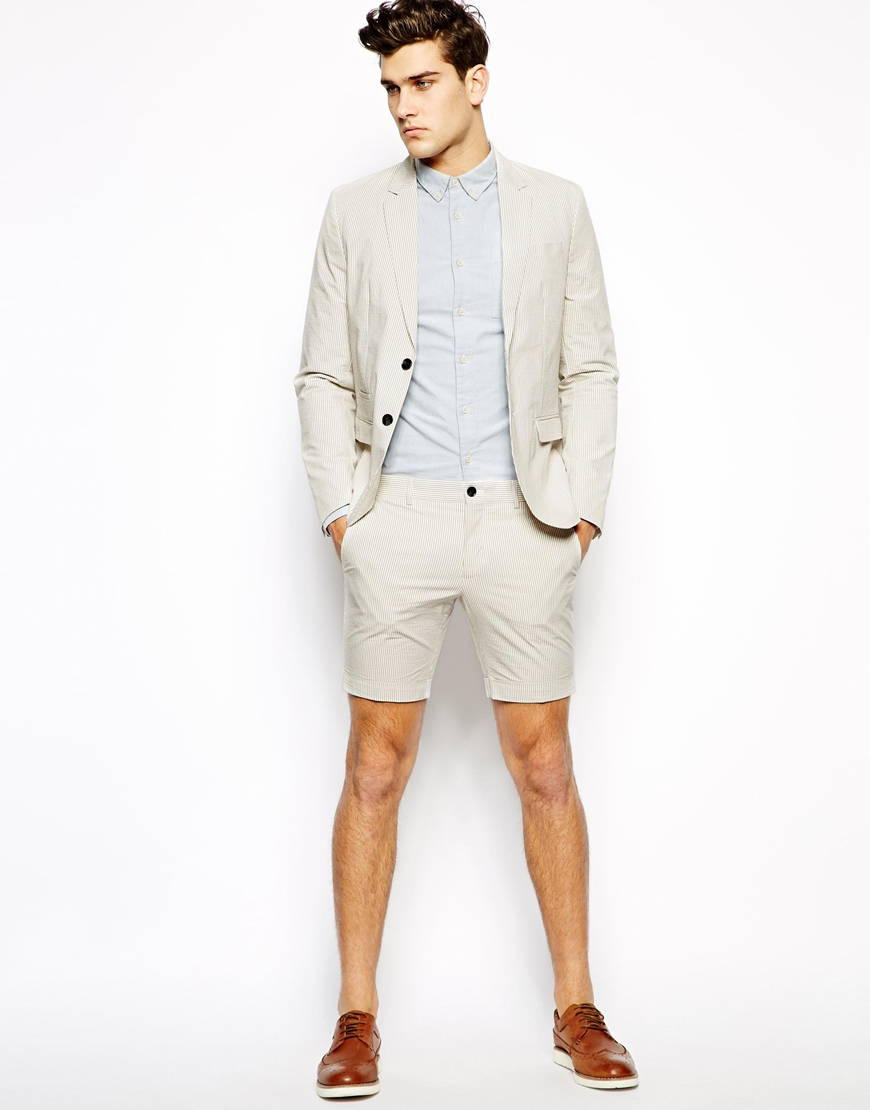 Selected Suit Shorts With Stripe in White for Men | Lyst