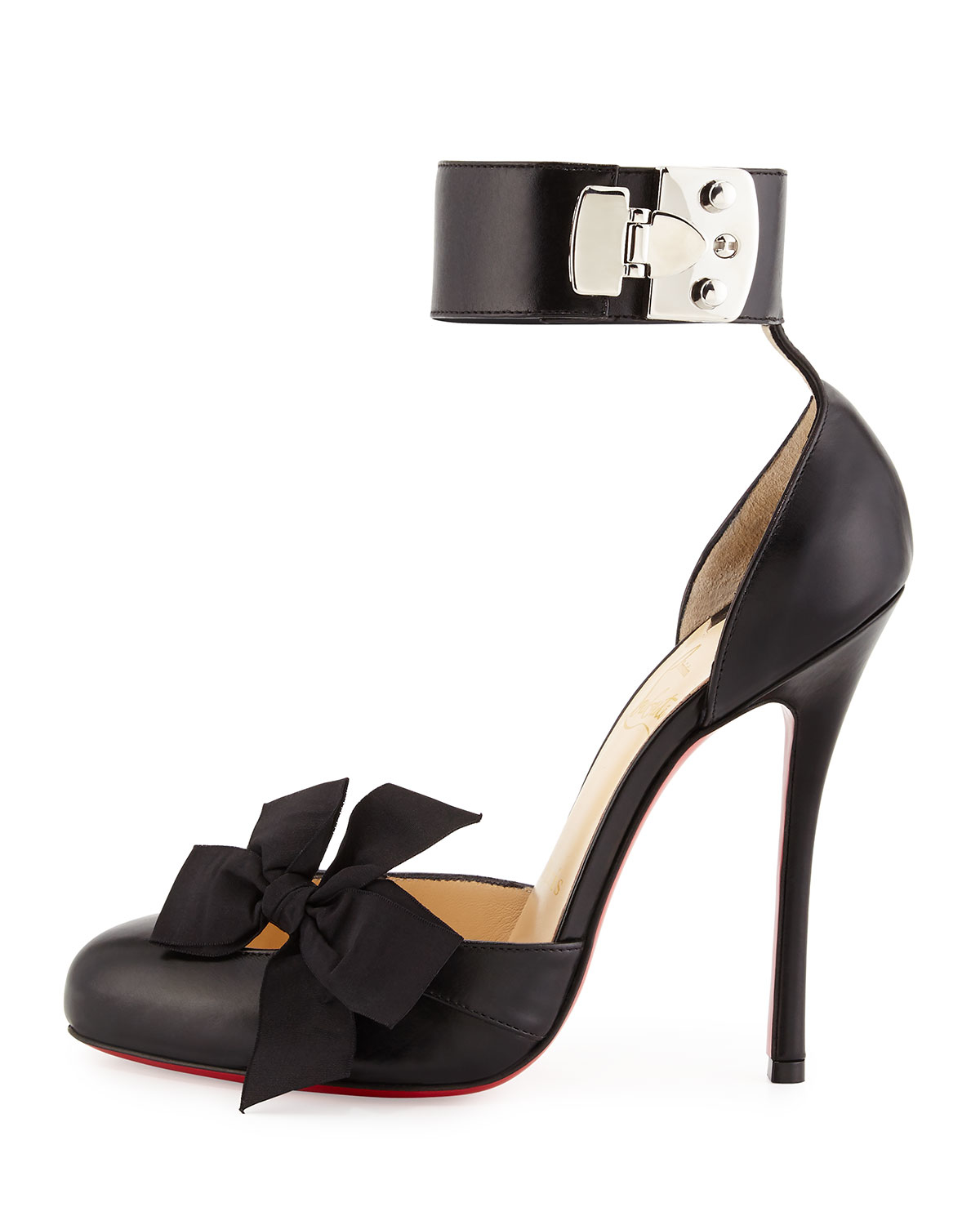 black louboutins - christian louboutin peep-toe doOrsay pumps Black satin bow ...
