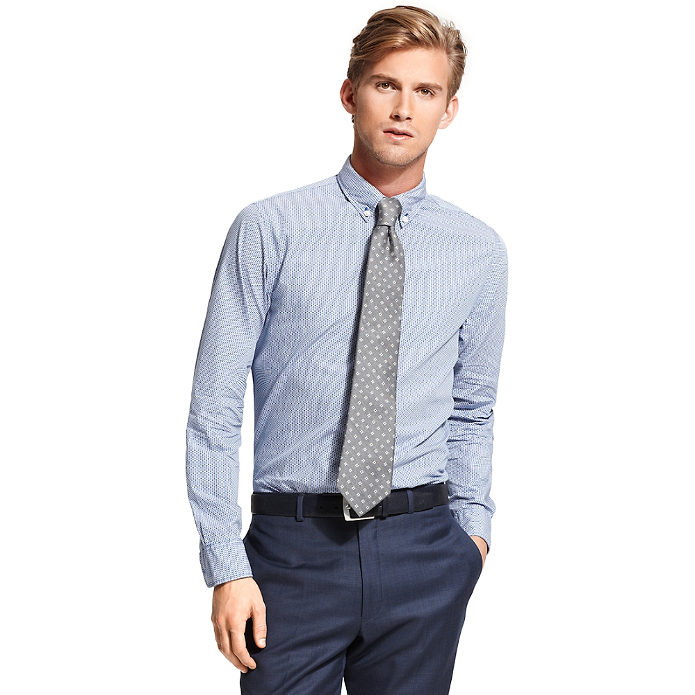 tommy hilfiger new york fit micro print shirt in blue for. Black Bedroom Furniture Sets. Home Design Ideas